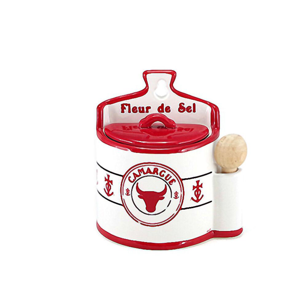 Faye Petite boite à sel en faïence avec cuillère