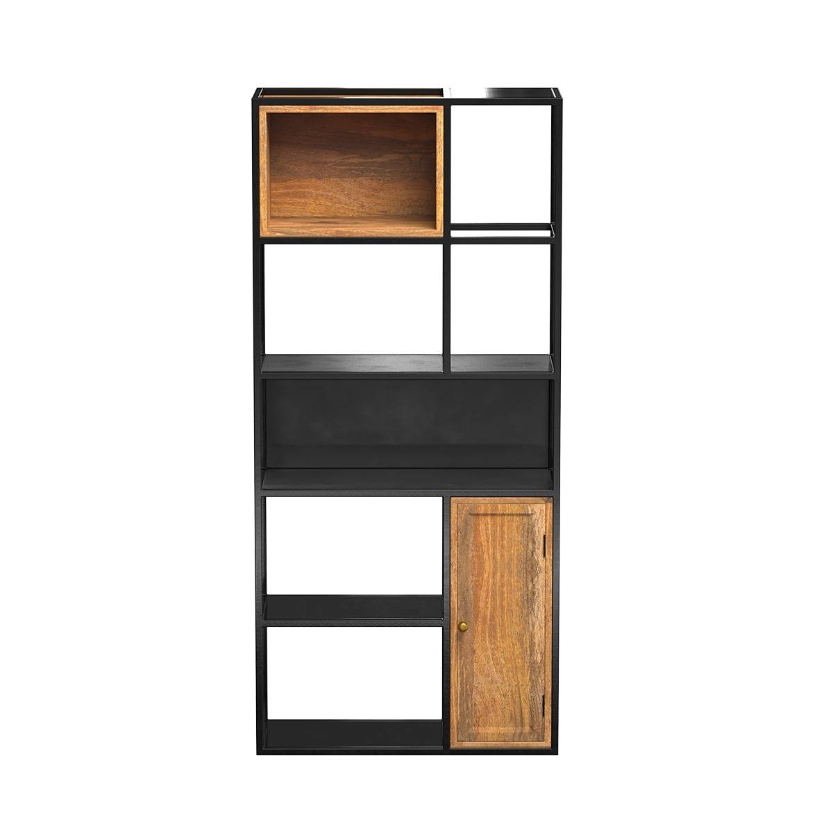 Rendez vous déco Etagre 5 niveaux en métal noir et bois 1 porte
