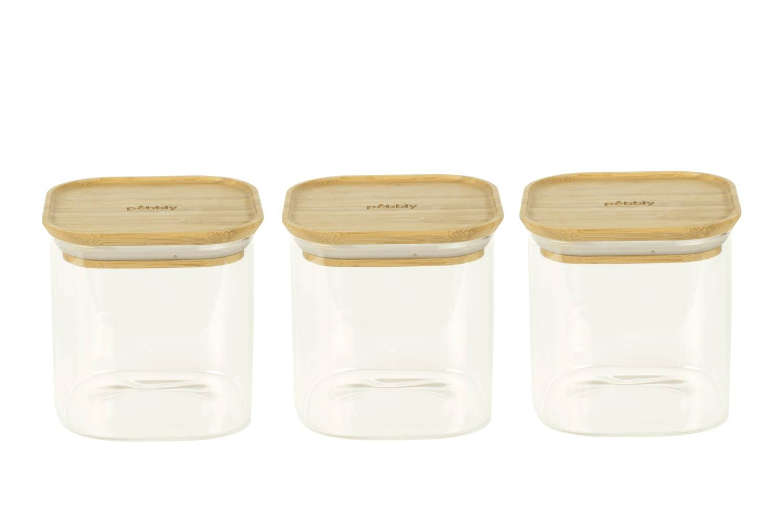 Pebbly Set de 3 botes carrées en verre avec couvercle en bambou 800ml