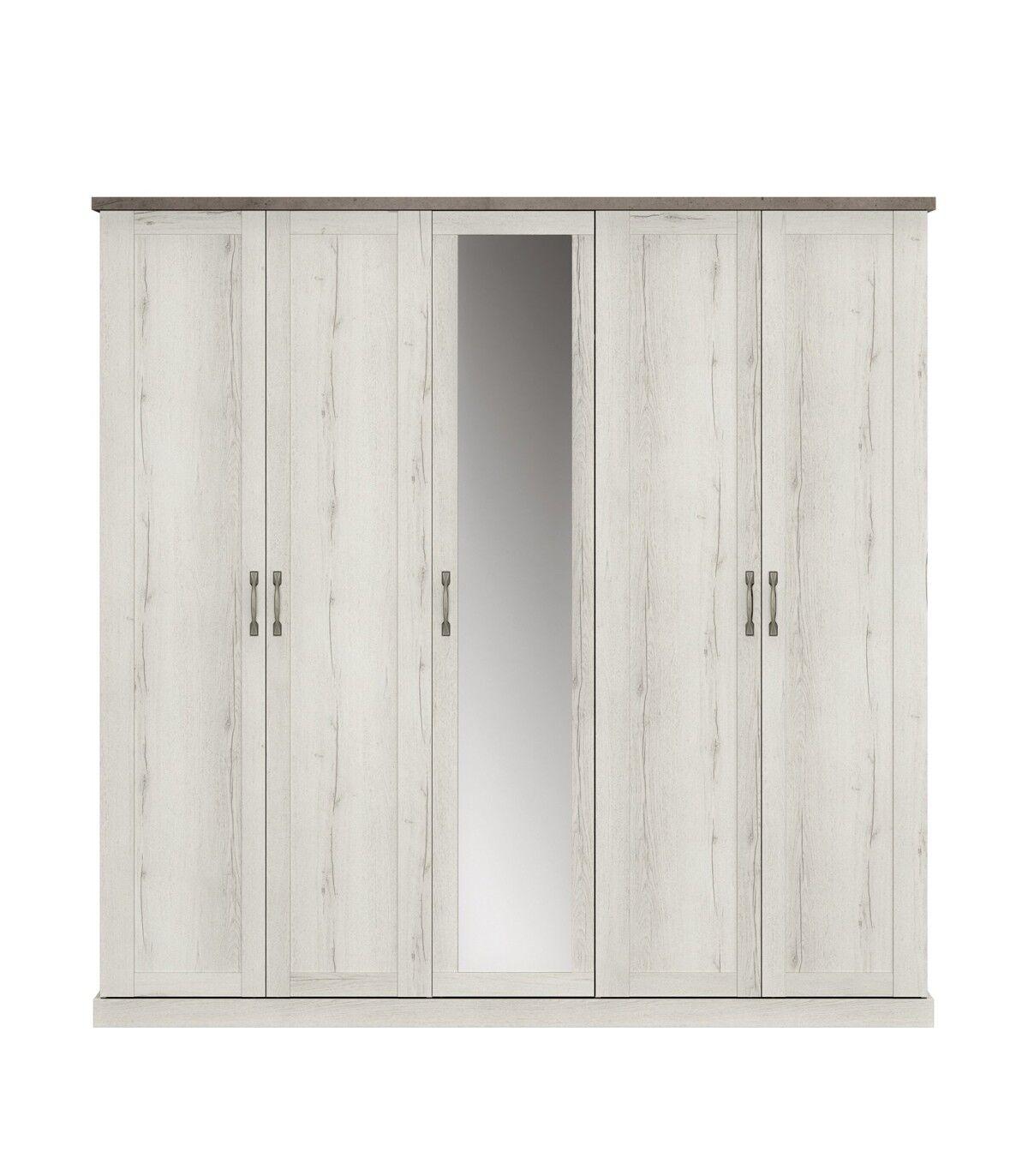 Calicosy Armoire 5 portes avec miroir - Décor Chne blanchi