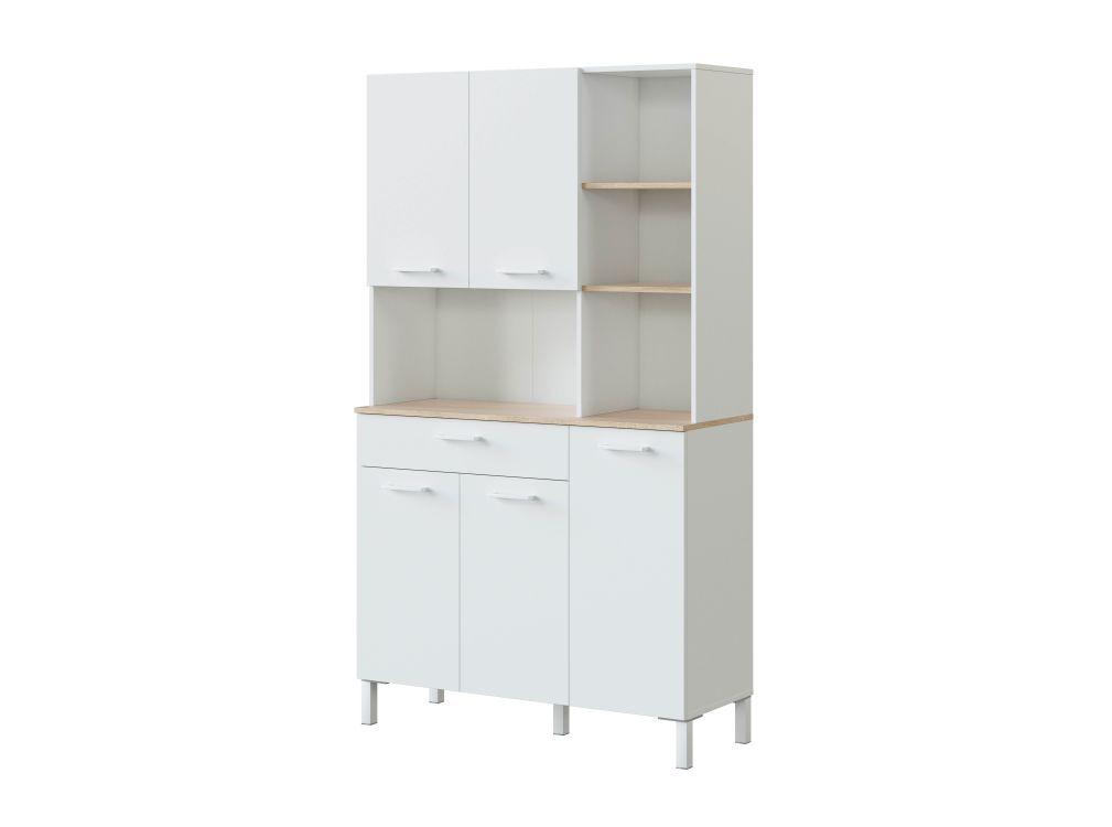 Usinestreet Buffet de cuisine blanc/bois 5 portes L108 x H186cm