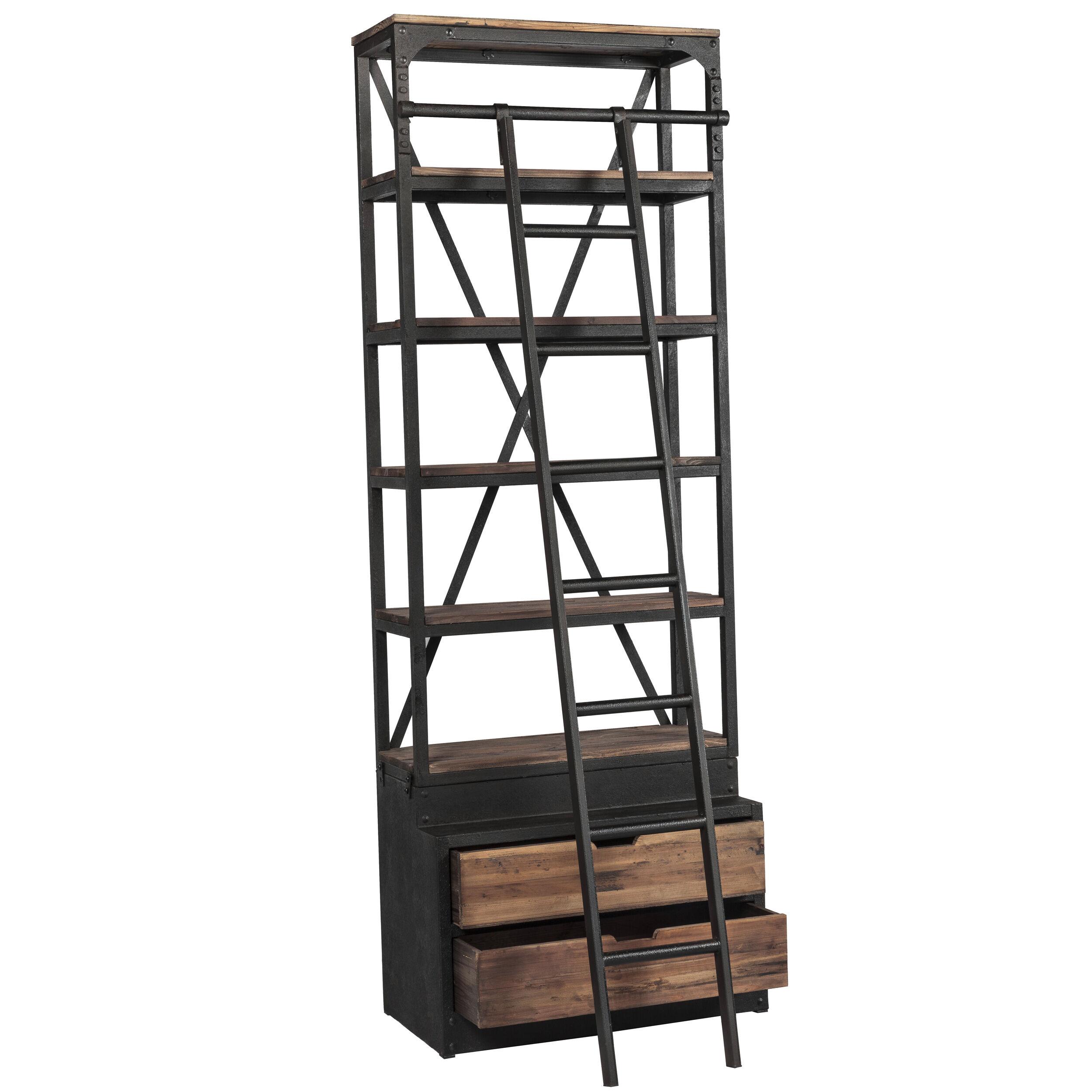 Rendez vous déco Bibliothque 86 cm en bois et métal avec échelle, 2 tiroirs