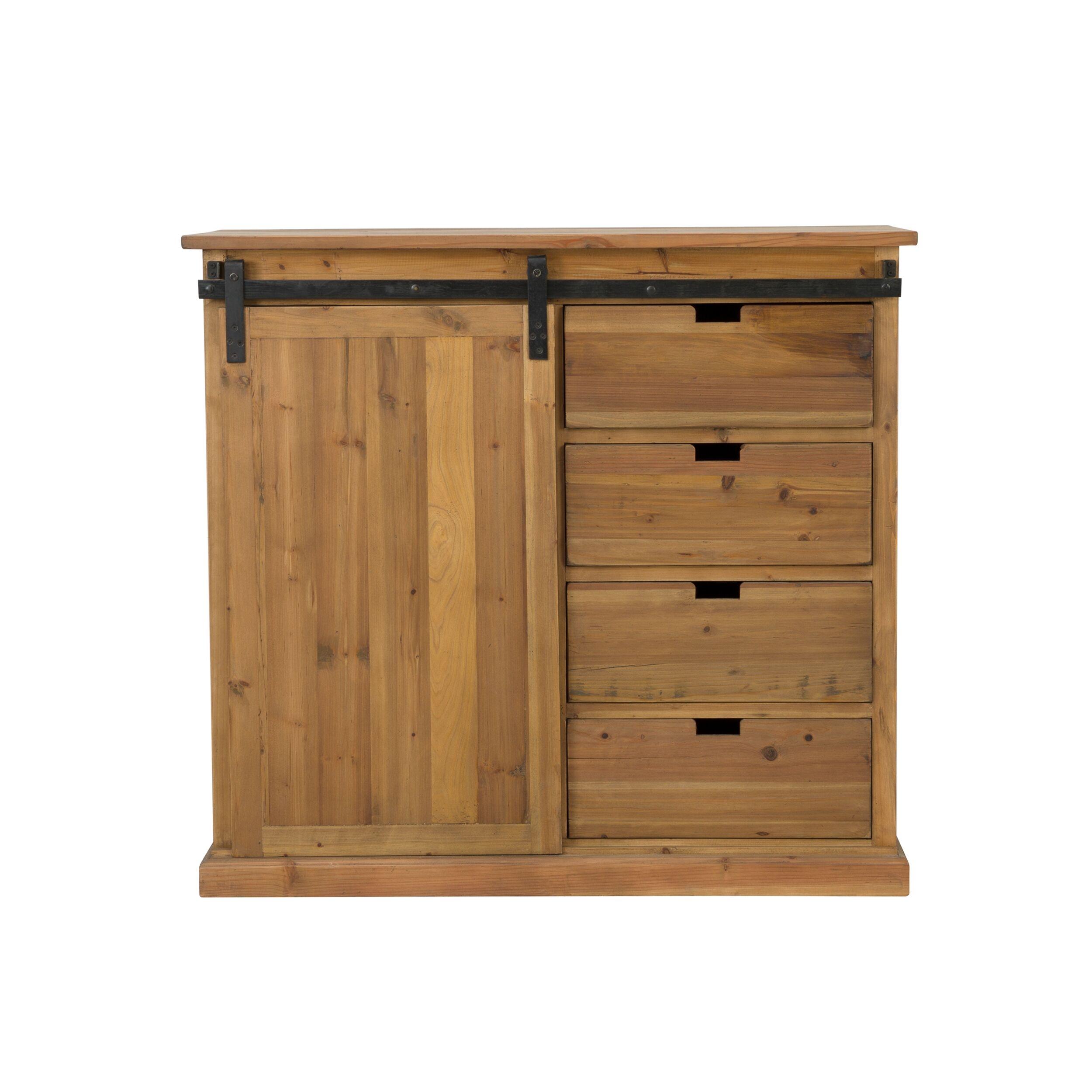 Rendez vous déco Buffet 4 tiroirs 1 porte coulissante en bois de cèdre