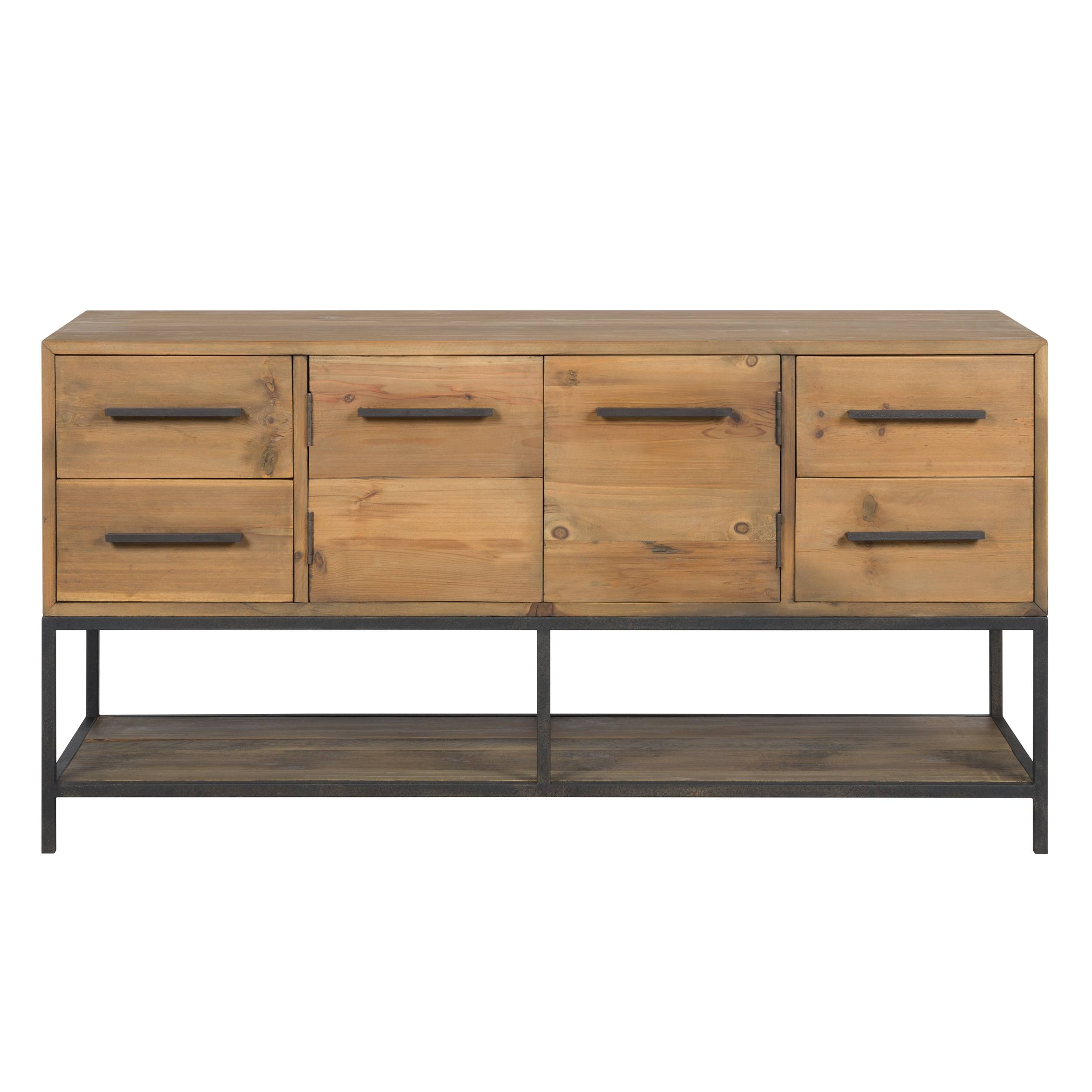 Rendez vous déco Buffet en bois de cèdre recyclé et métal 2 portes 4 tiroirs