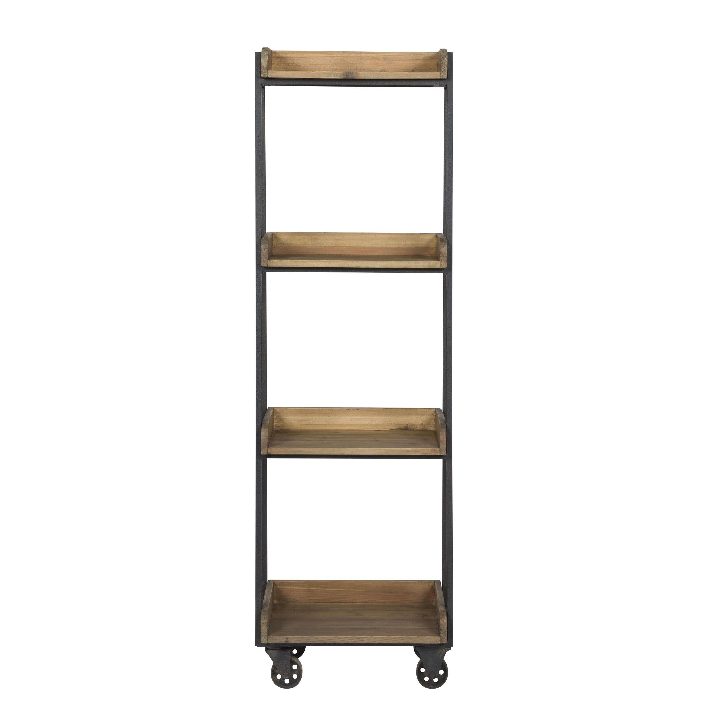 Rendez vous déco Etagre en  bois recyclé et métal 4 étages  roulettes