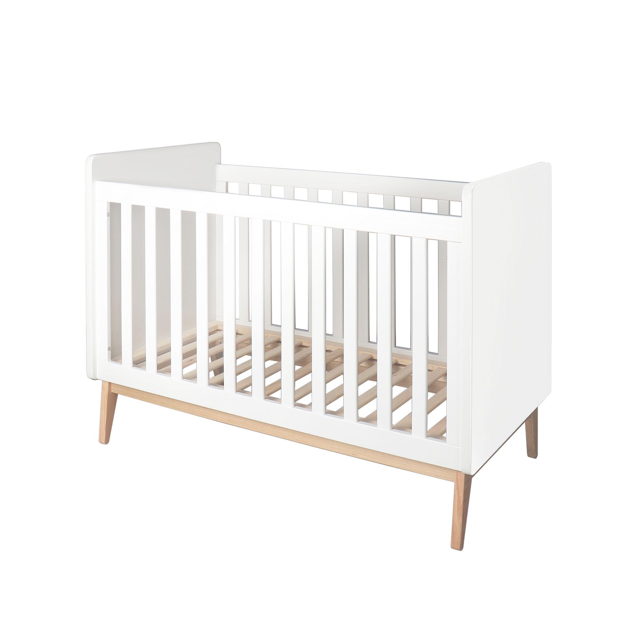 Homcom Lit bébé à barreaux 60 x 120 cm sommier lattes hauteur réglable blanc