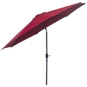 Outsunny Parasol en aluminium rond inclinable bordeaux - Publicité