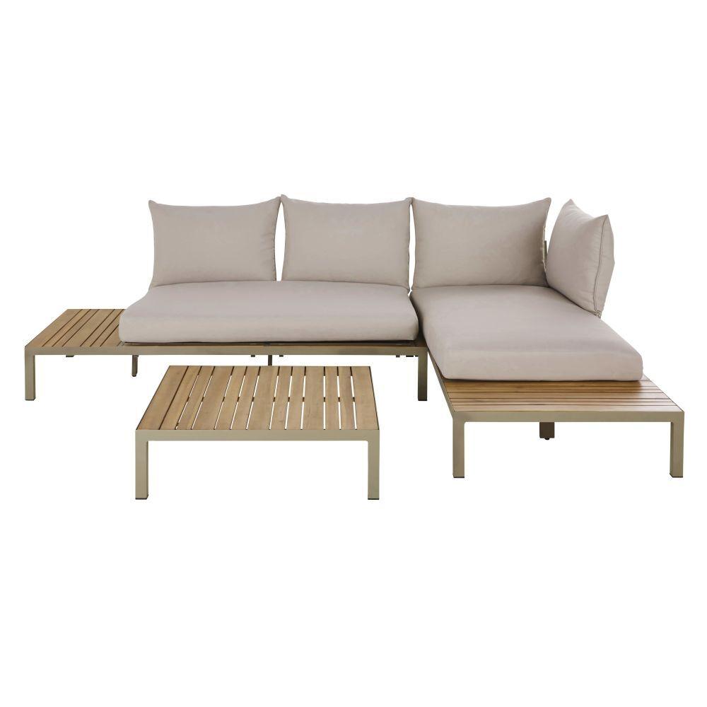 Maisons du Monde Salon modulable de jardin 4/6 places en acacia massif coloris imitation teck, aluminium vert kaki et coussins gris
