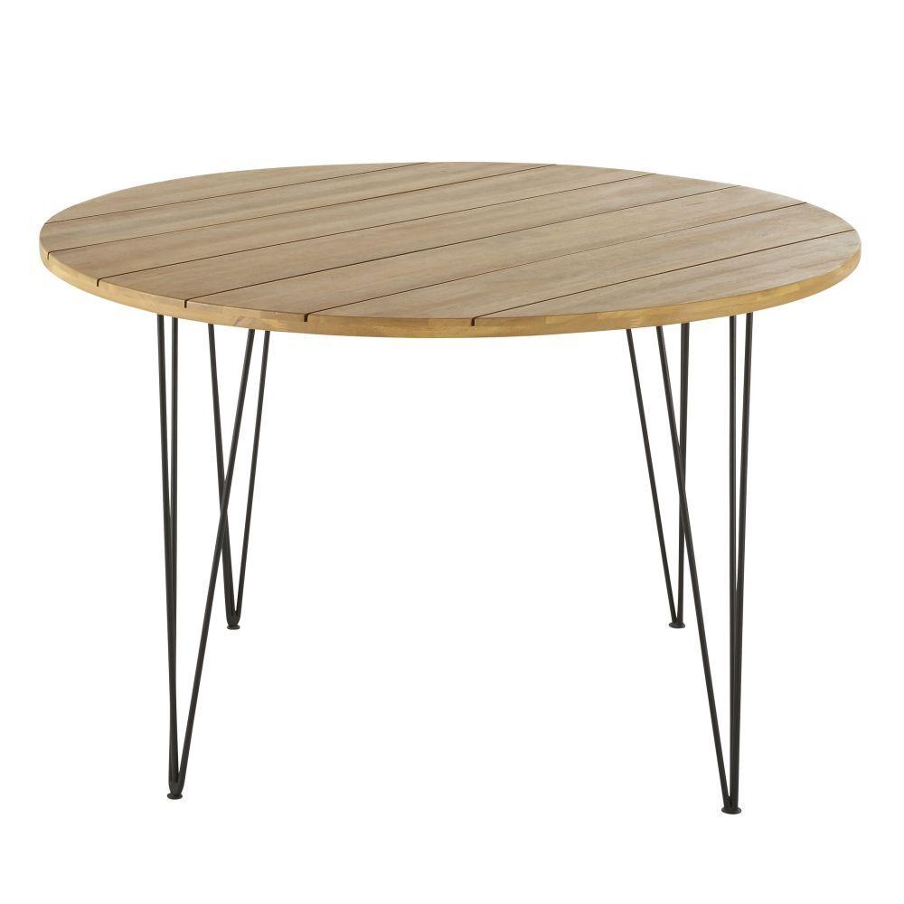 Maisons du Monde Table de jardin ronde en acacia massif et métal noir 4 places D120