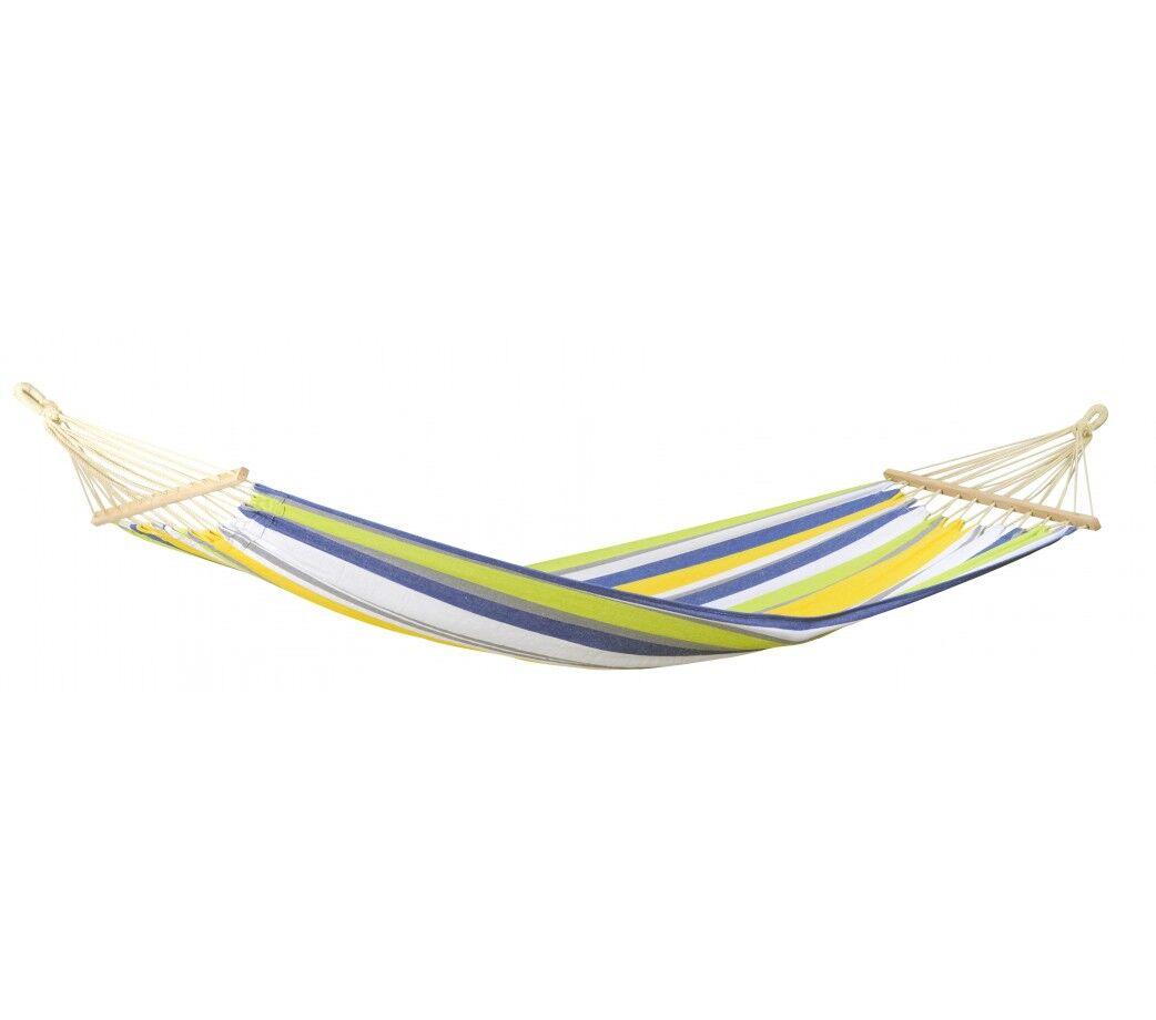 Amazonas Hamac simple  barre en tissu imperméable vert et jaune