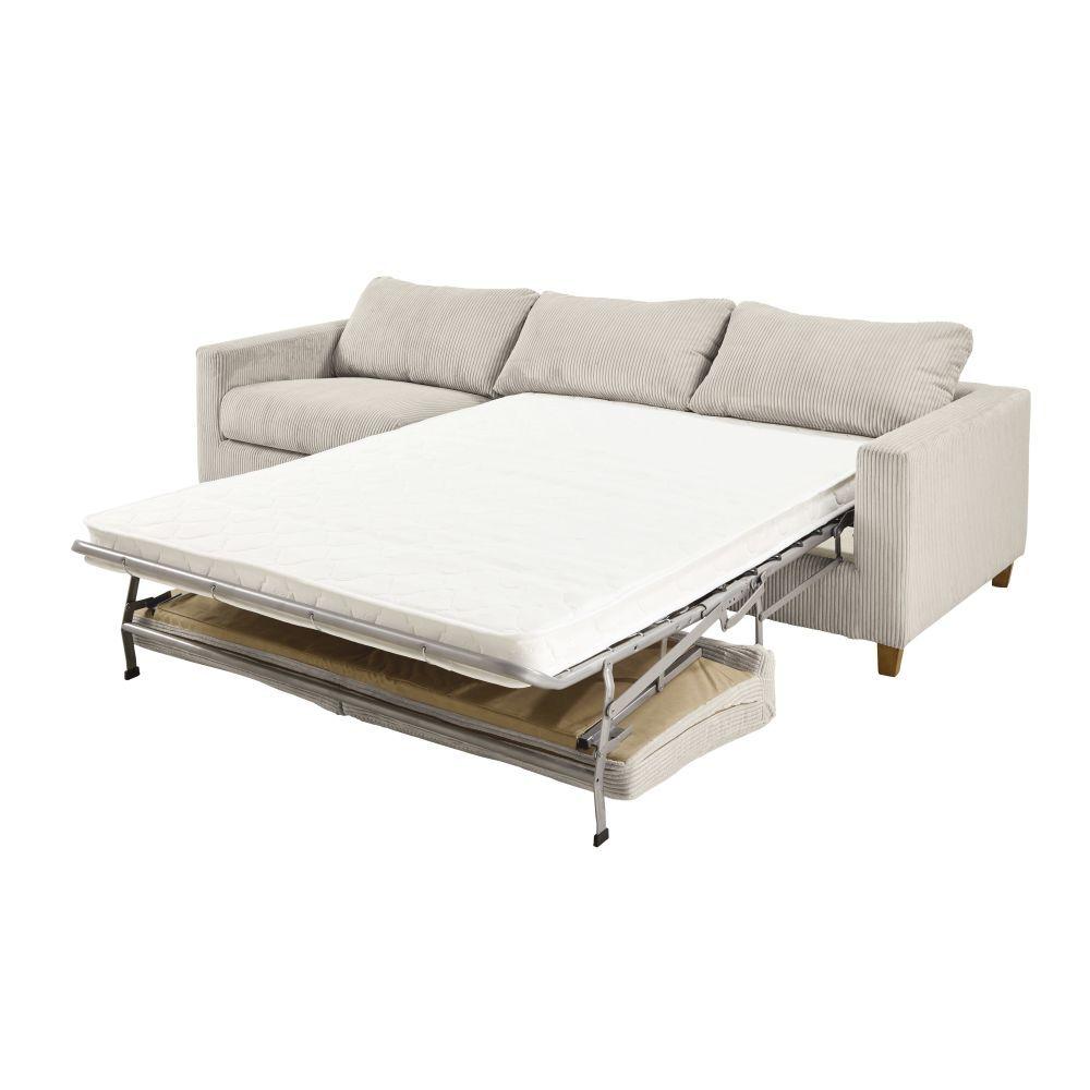 Maisons du Monde Canapé-lit 4 places en velours côtelé gris clair Holden