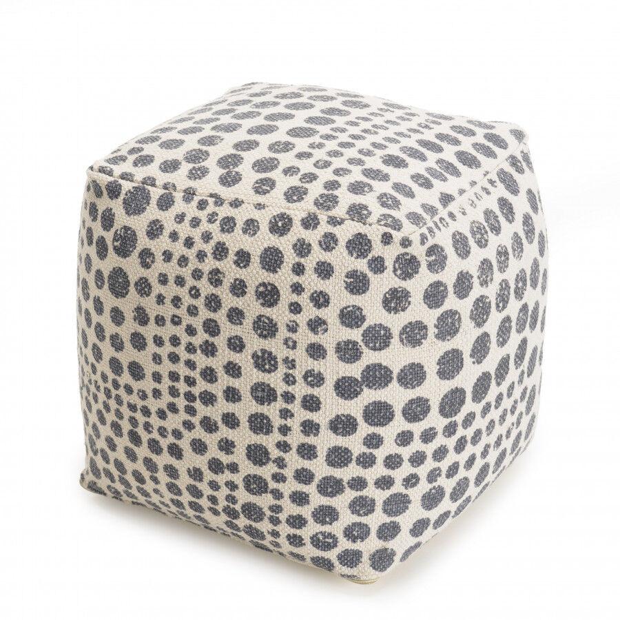 MACABANE Pouf carré tissu coton imprimé pois gris