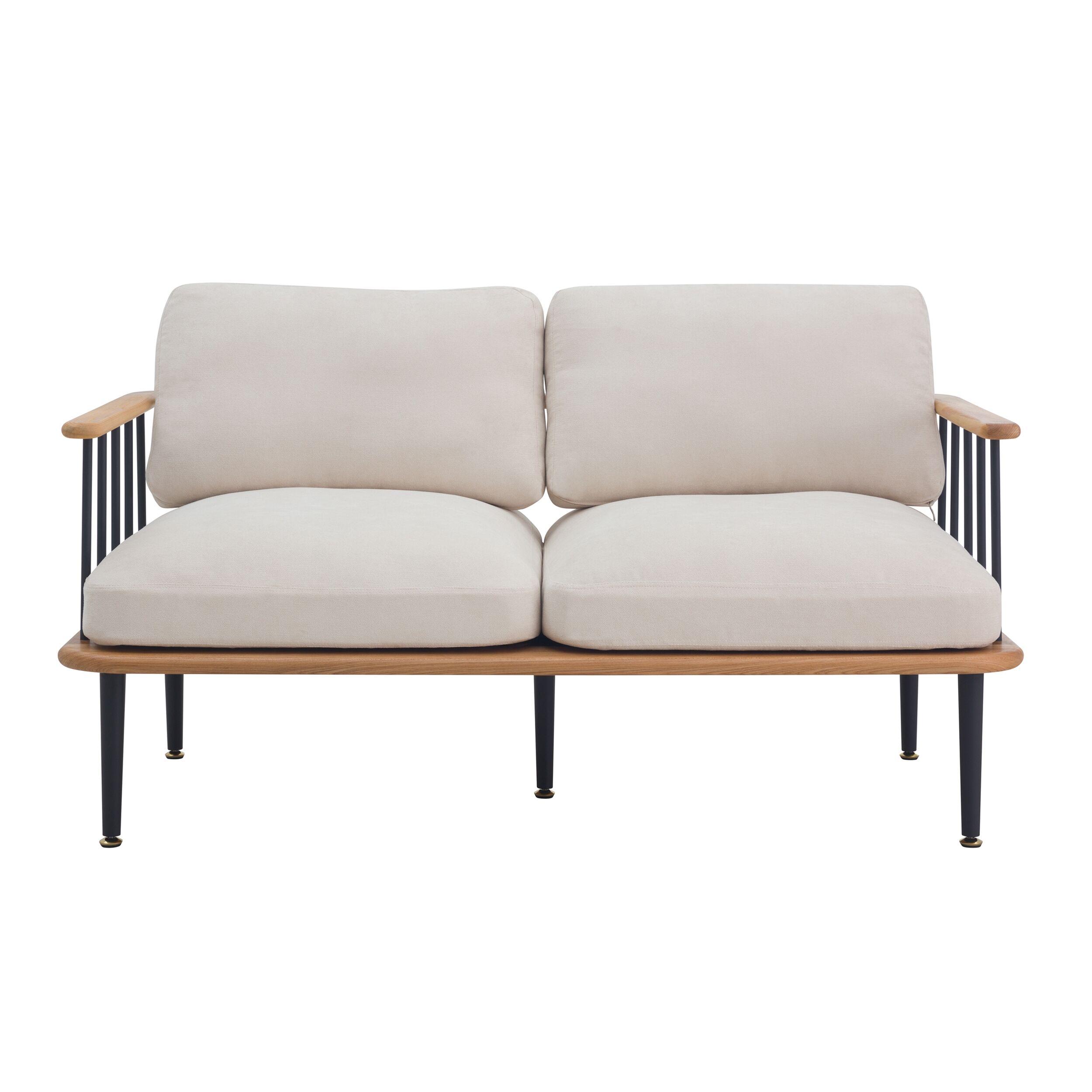 Rendez vous déco Canapé 2 places en bois d'orme, tissu beige et métal noir