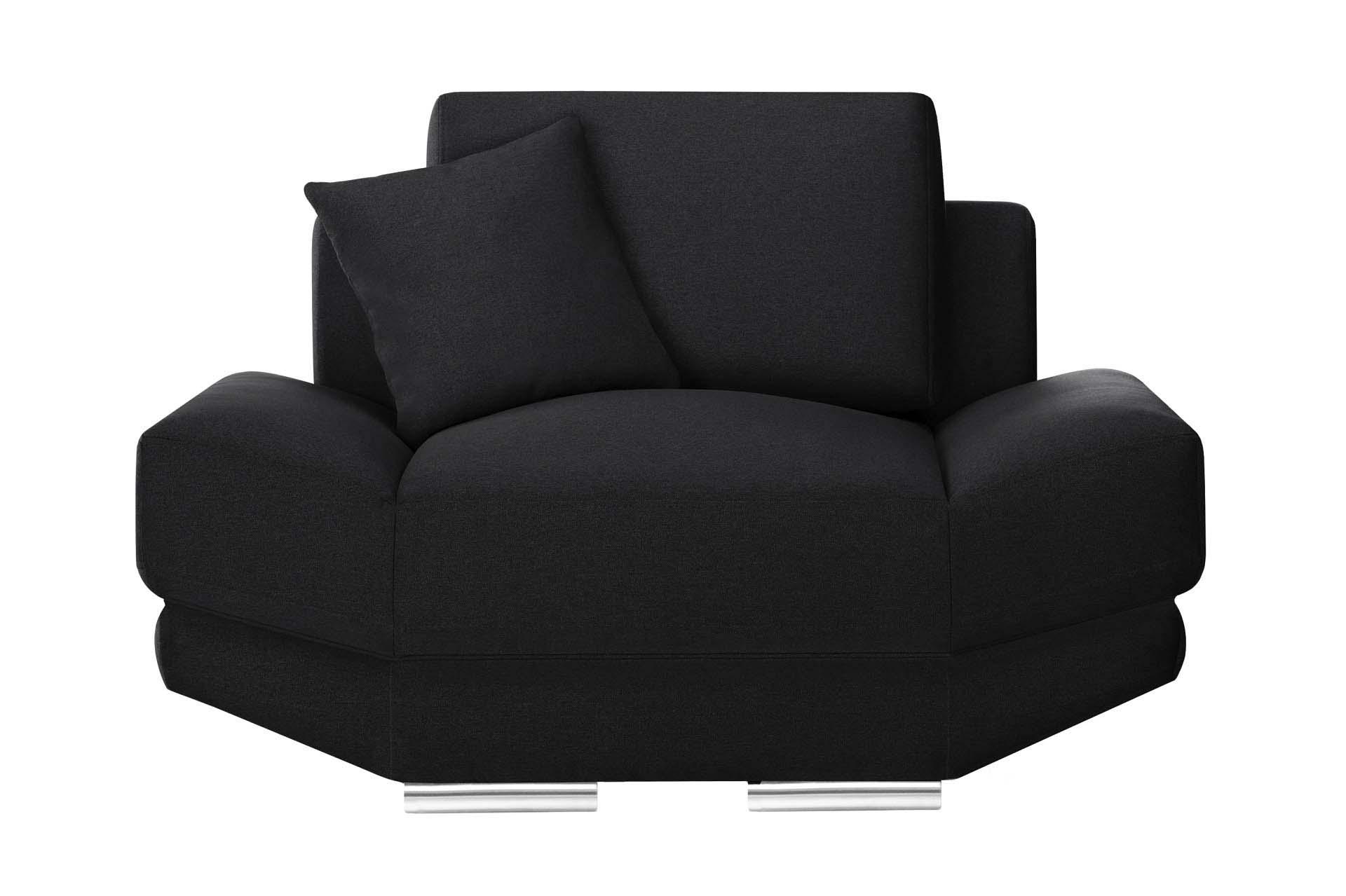L'Officiel Interiors Fauteuil 1 place toucher lin noir