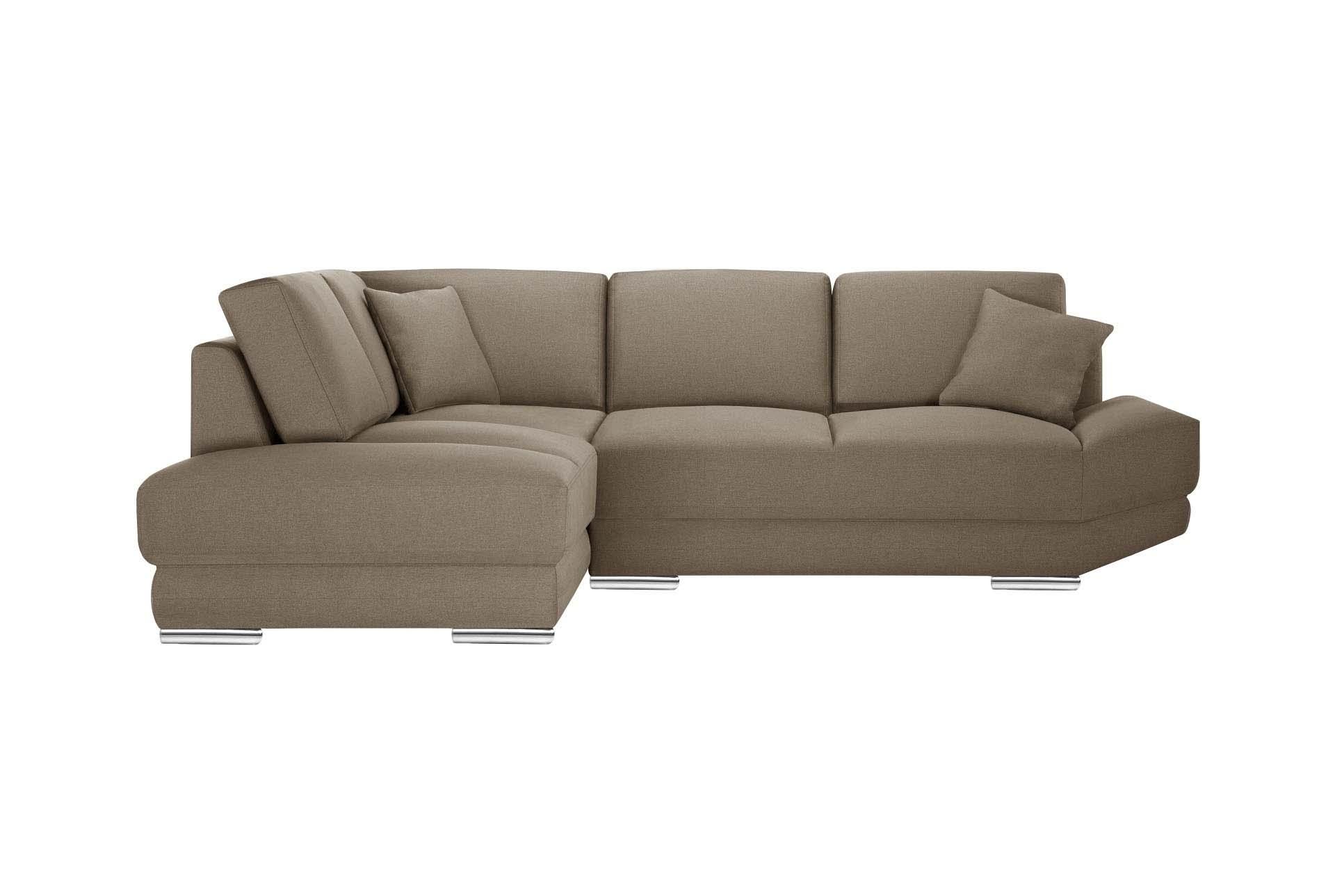 L'Officiel Interiors Canapé d'angle gauche 5 places toucher lin noisette