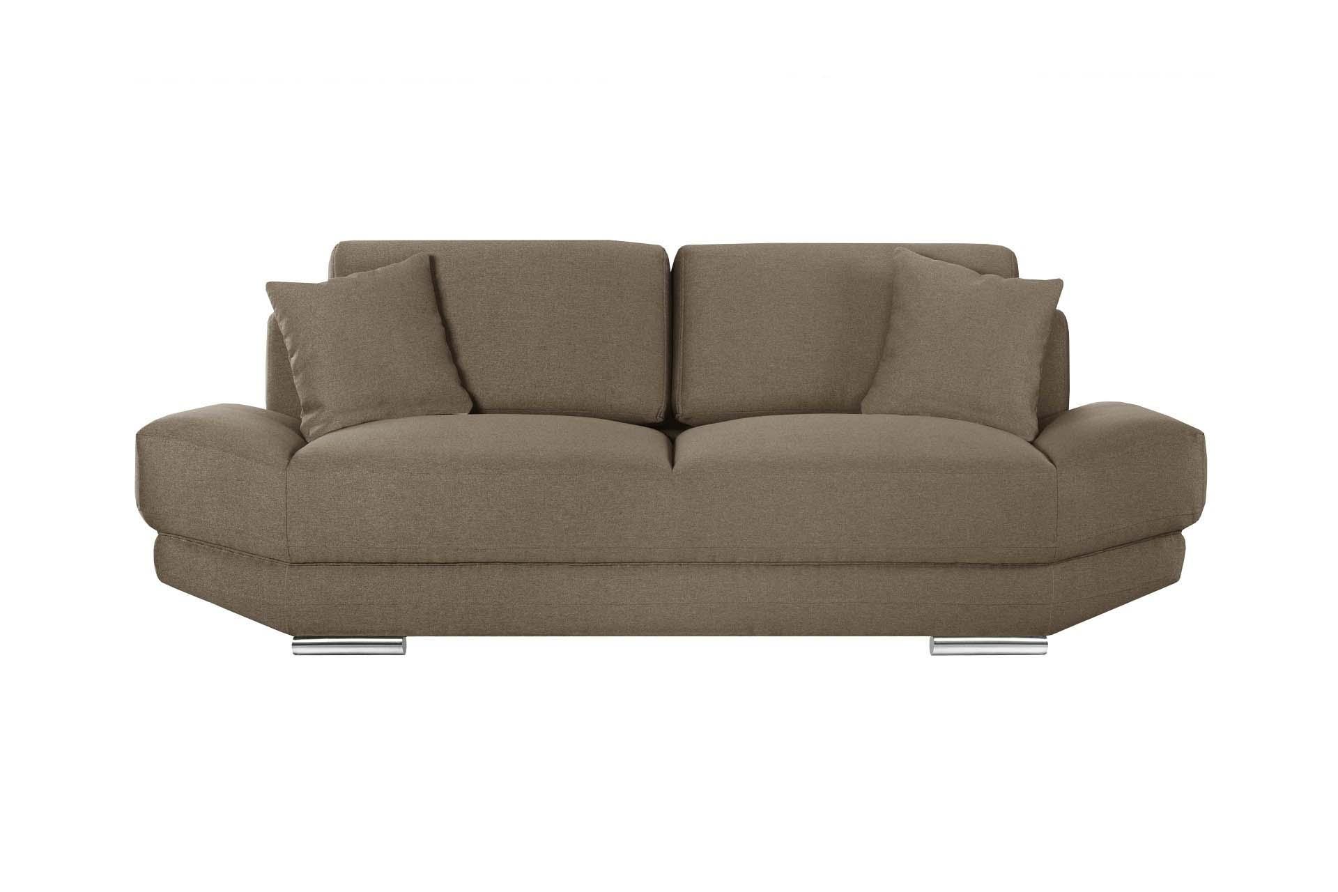 L'Officiel Interiors Canapé 3 places toucher lin noisette