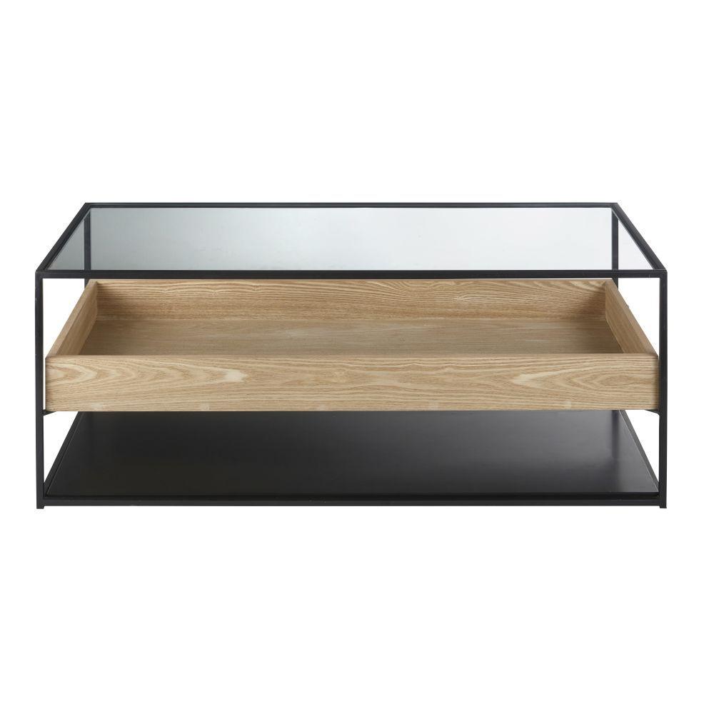 Maisons du Monde Table basse en verre trempé et métal noir Raven