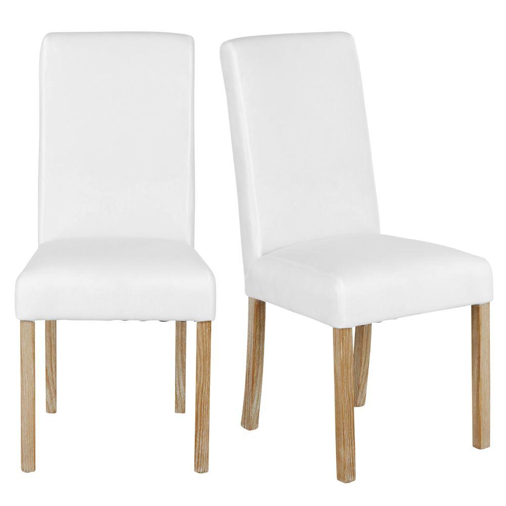 Maisons du Monde 2 chaises  housser en pin blanchi