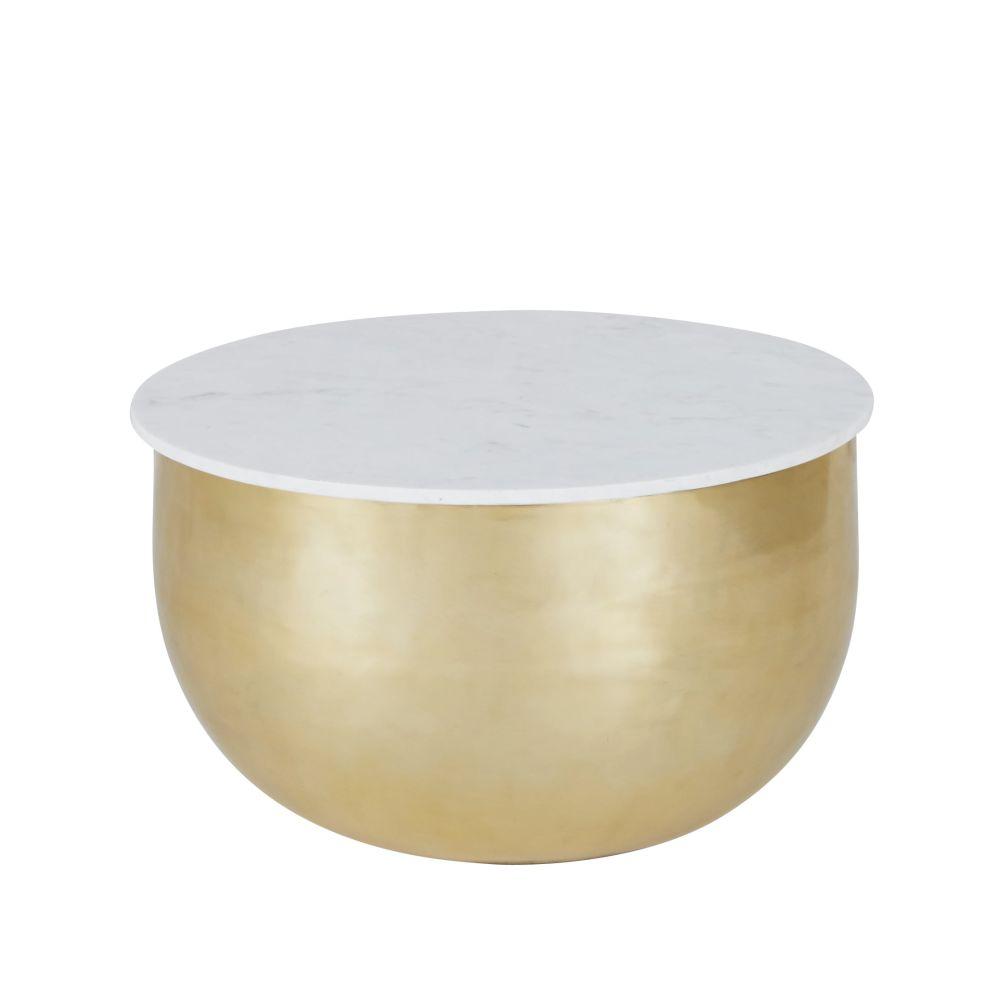 Maisons du Monde Bout de canapé en marbre blanc et aluminium doré mat