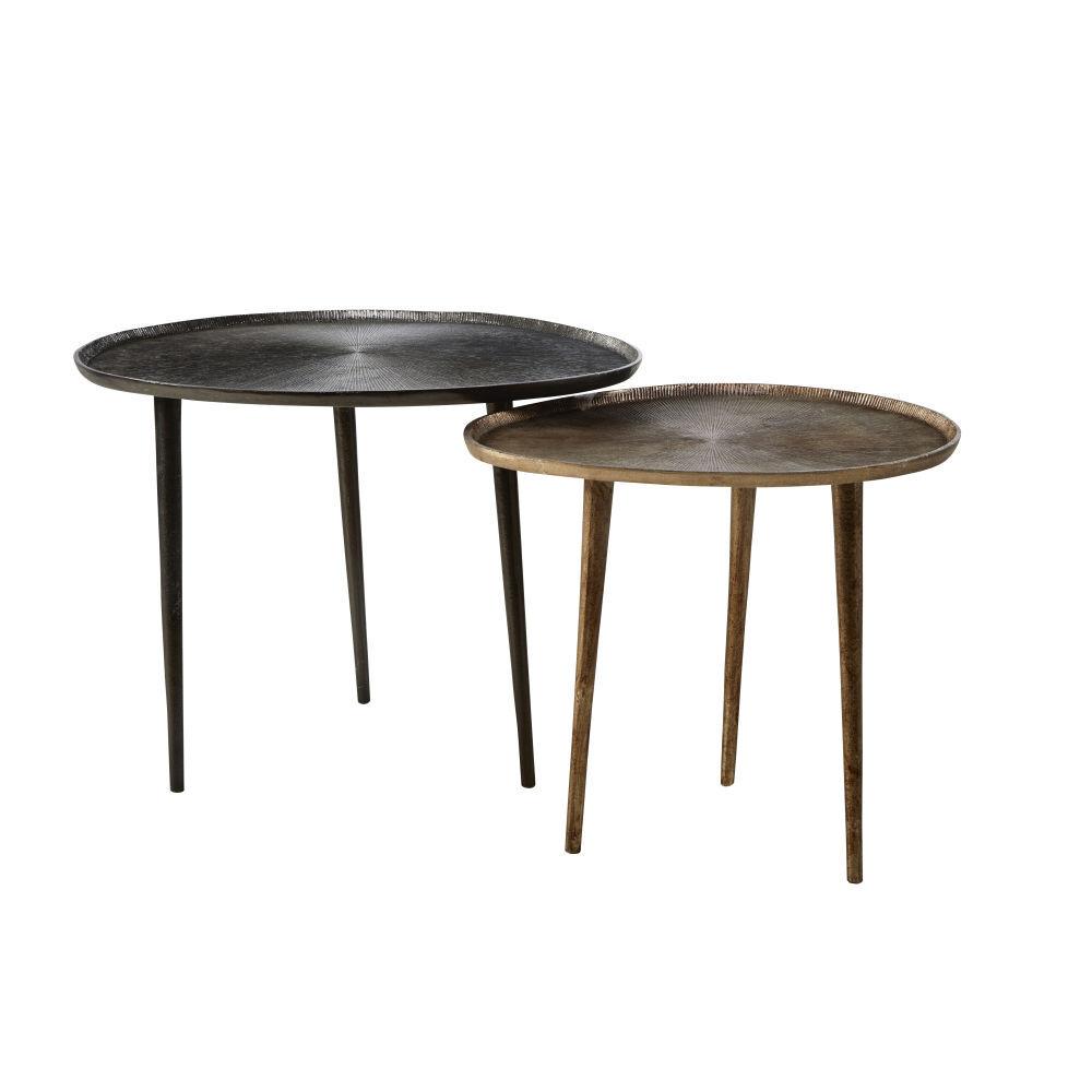 Maisons du Monde Bouts de canapé en aluminium noir et bronze (x2)