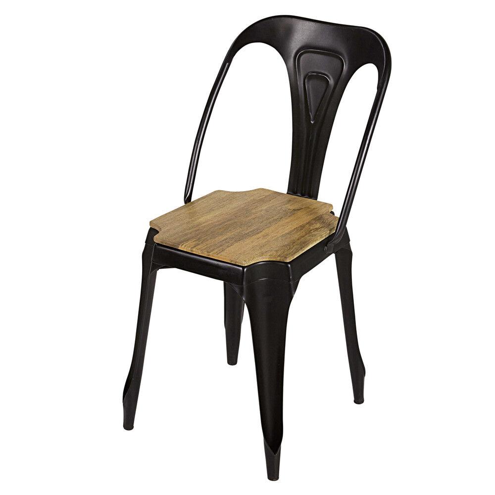 Maisons du Monde Chaise indus en métal noir mat et manguier