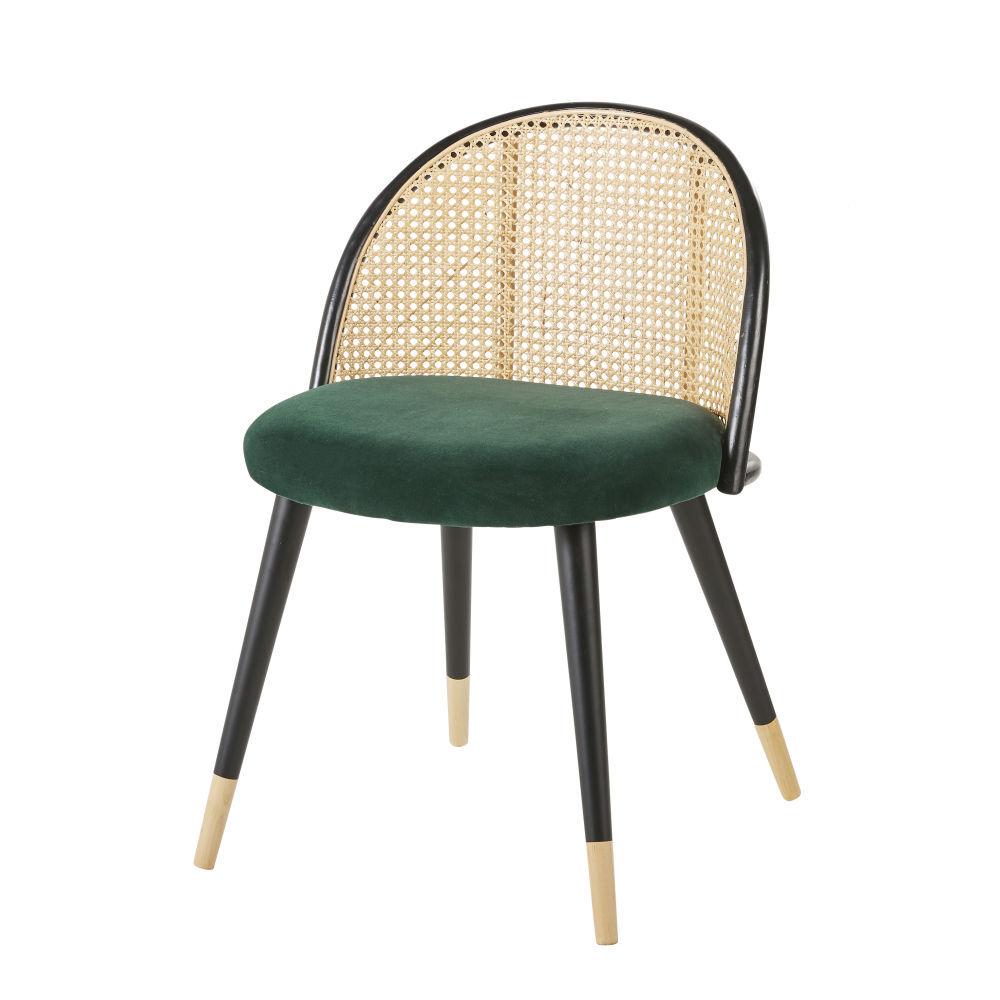 Maisons du Monde Chaise vintage verte cannage en rotin et bouleau massif