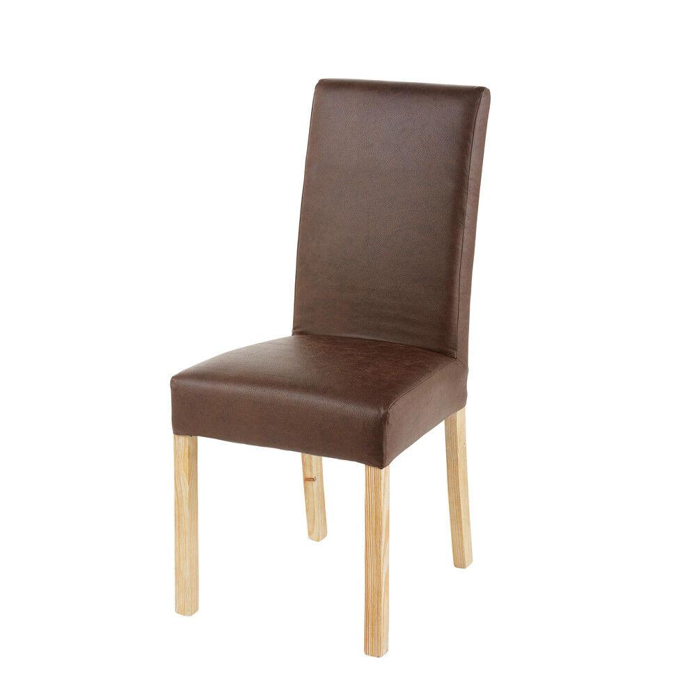 Maisons du Monde Housse de chaise en microsuède marron 41x70