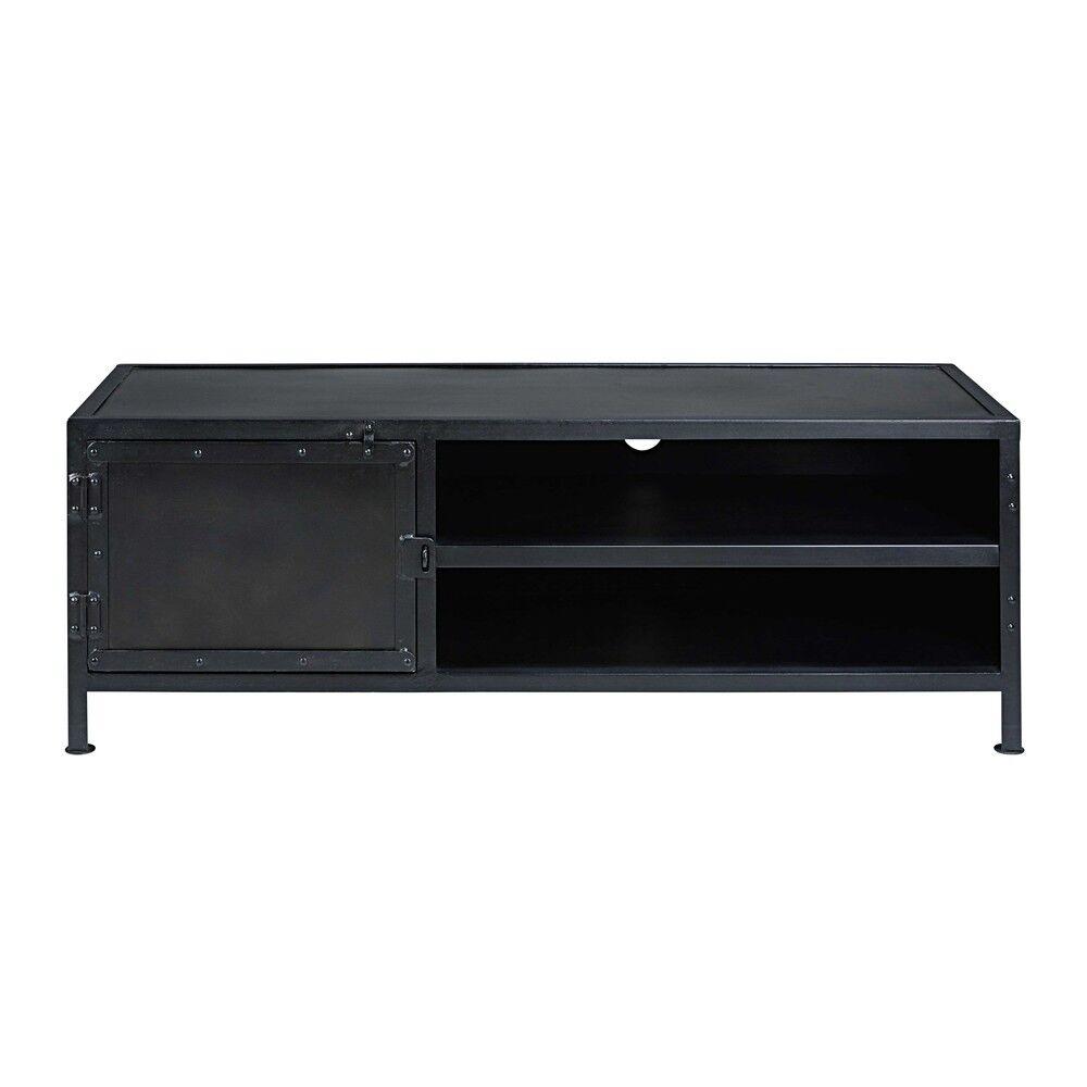 Maisons du Monde Meuble TV indus 1 porte en métal noir