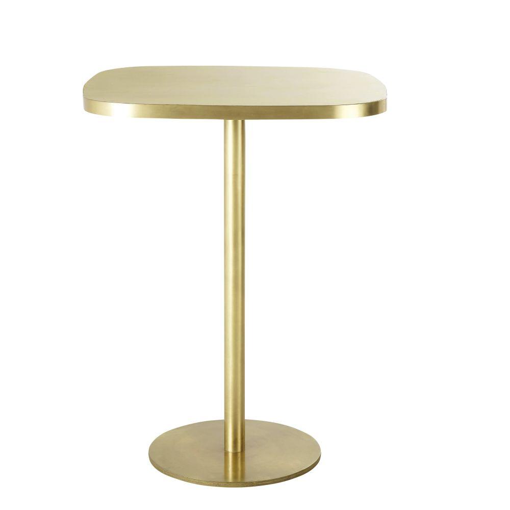 Maisons du Monde Table à manger haute en métal coloris laiton 1/2 personnes L40