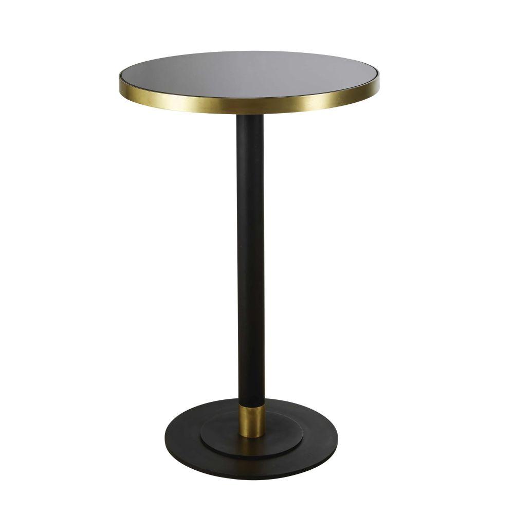 Maisons du Monde Table à manger haute ronde en verre trempé noir 1/2 personnes D70