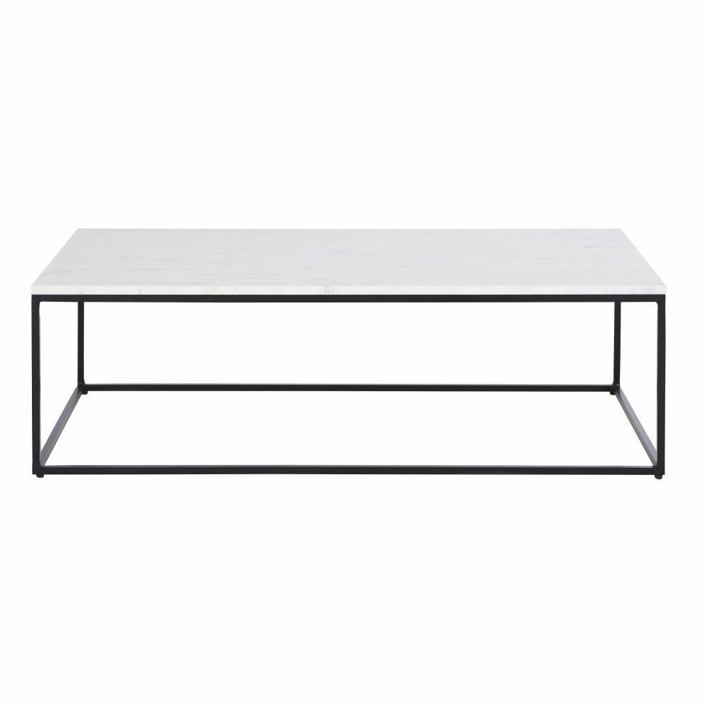 Maisons du Monde Table basse en marbre blanc et métal noir