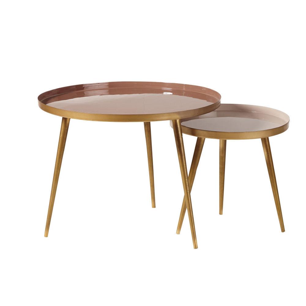 Maisons du Monde Tables gigognes en métal beige rosé et doré