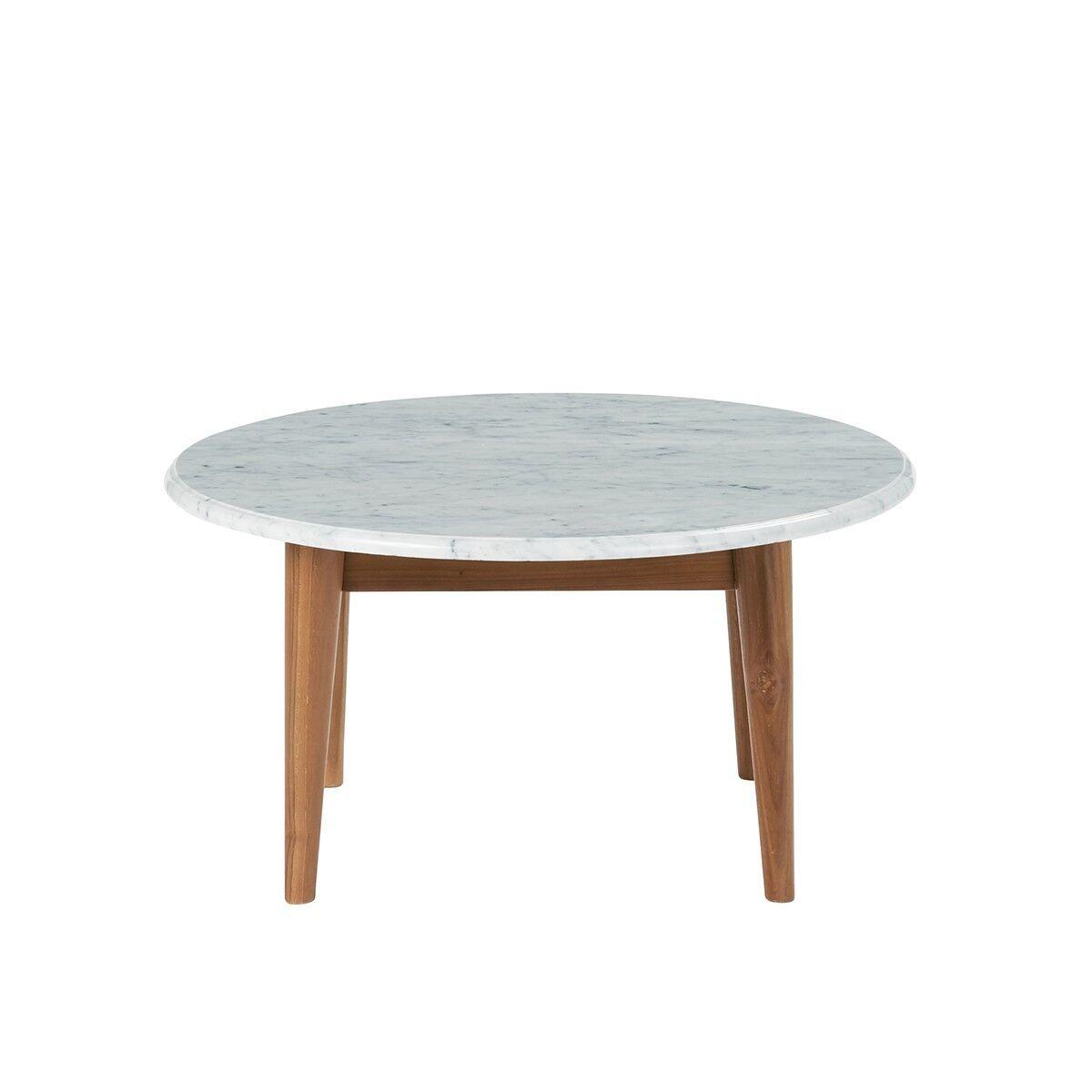 Bois Dessus Bois Dessous Table basse ronde en marbre et teck blanche