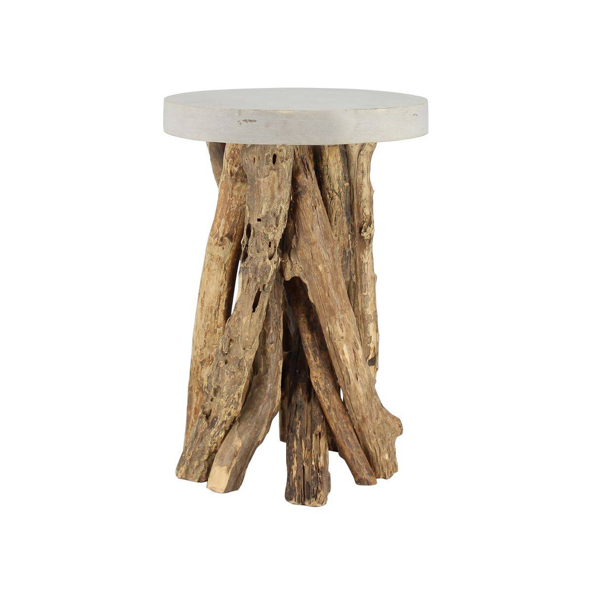Pirouette Paris Bout de canapé plateau en béton ciré pieds en bois