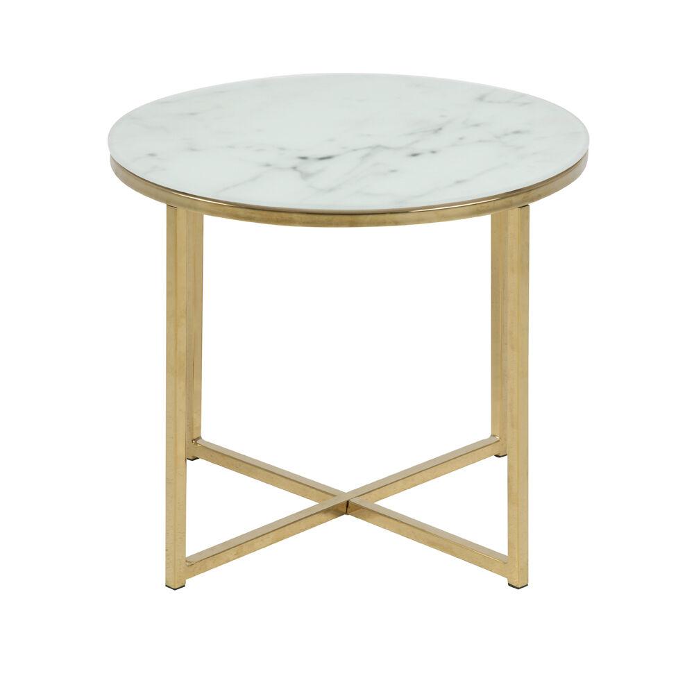 Selsey Table de café 50 cm pieds en métal chromé marbre doré
