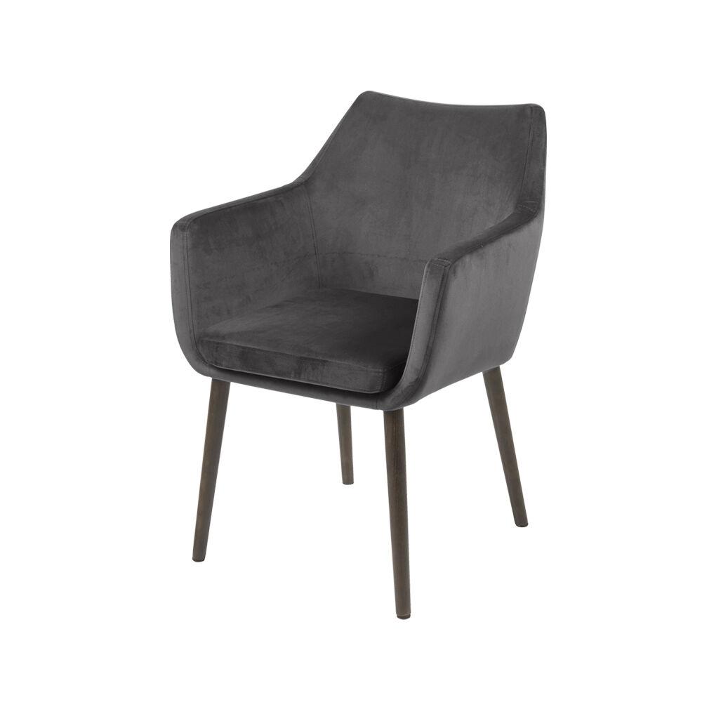 Selsey Chaise design 58 cm pieds en bois de chne gris brun
