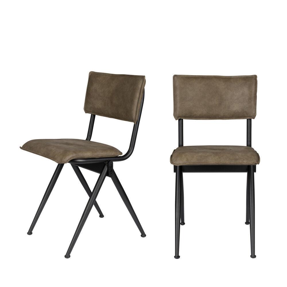 Dutchbone 2 chaises en simili marron argile