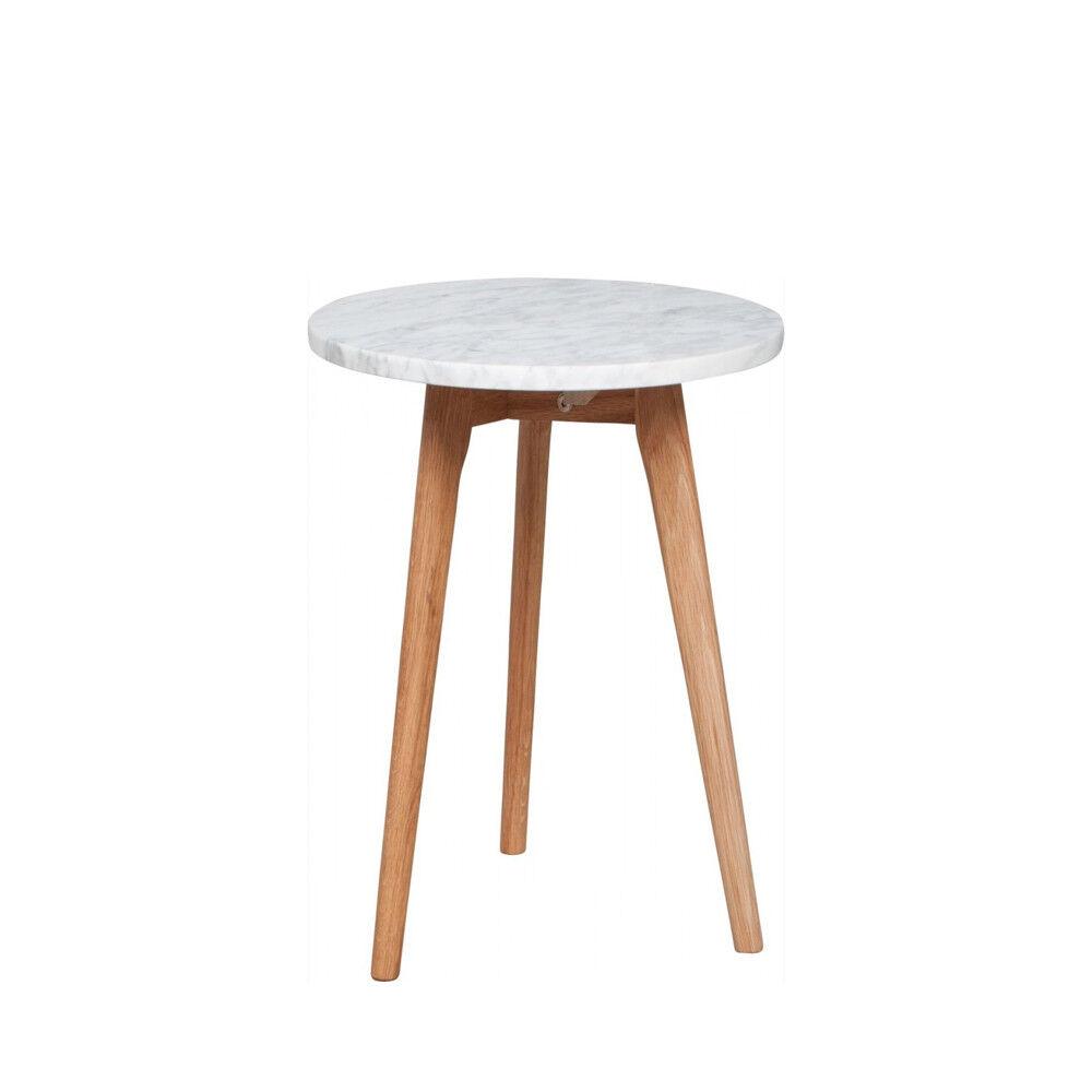Zuiver Table basse ronde bois et marbre S blanc  et  chne