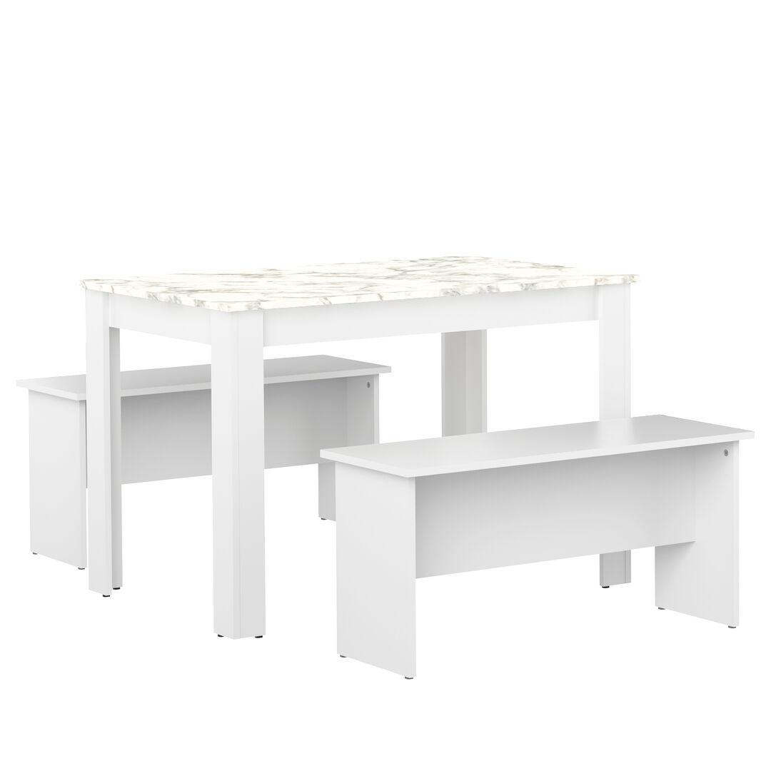 TEMAHOME Table  effet bois Blanc et marbre