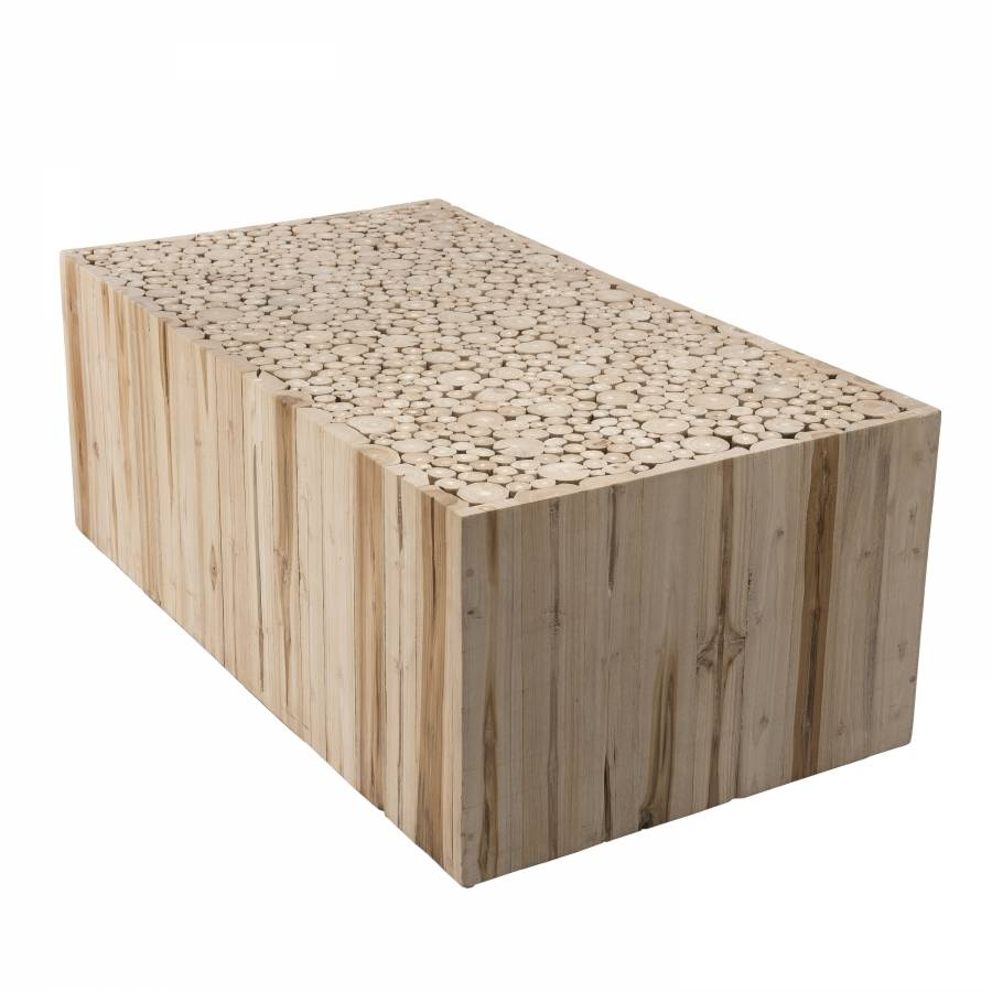 MACABANE Table basse rectangulaire nature branches bois teck