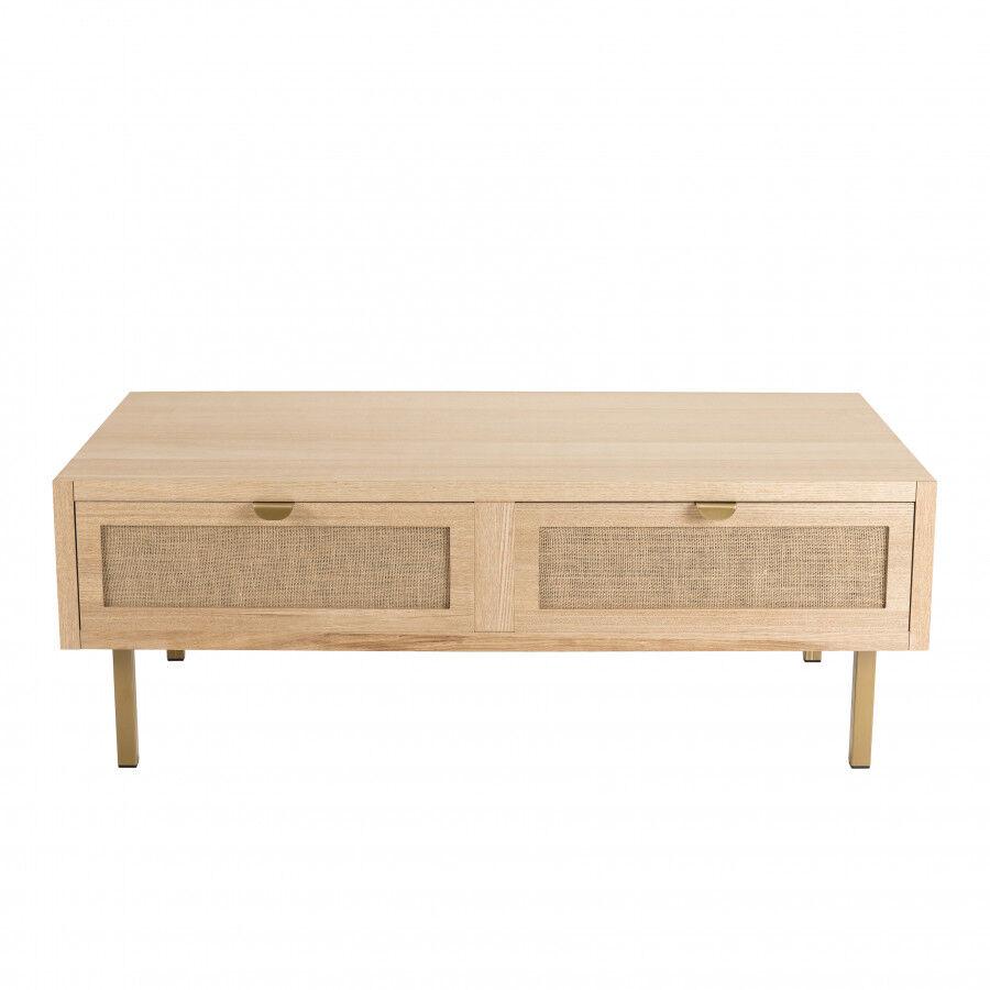 MACABANE Table basse 2 tiroirs toile de jute pieds métal doré
