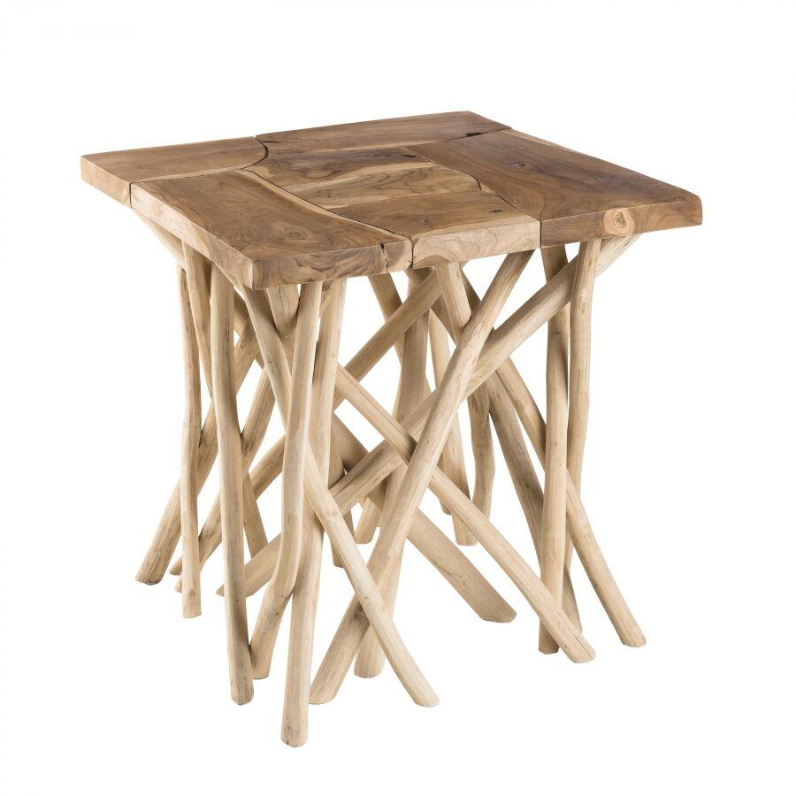 MACABANE Table d'appoint nature plateau bois teck pieds bois flotté