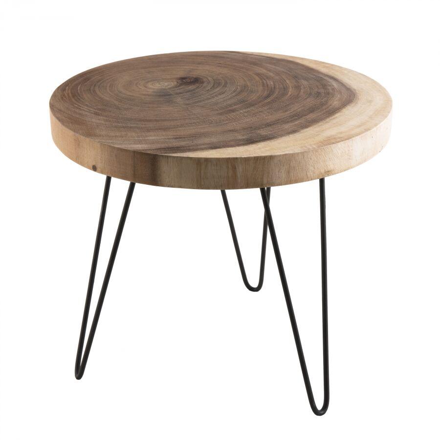 MACABANE Table d'appoint ronde grande bois mungur pieds épingles métal