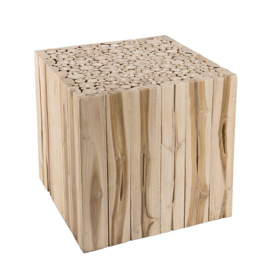 MACABANE Bout de canapé carré nature branches bois teck