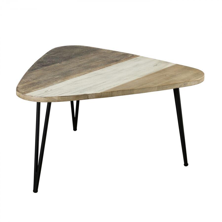 MACABANE Table basse goutte d'eau bois et métal grand modle
