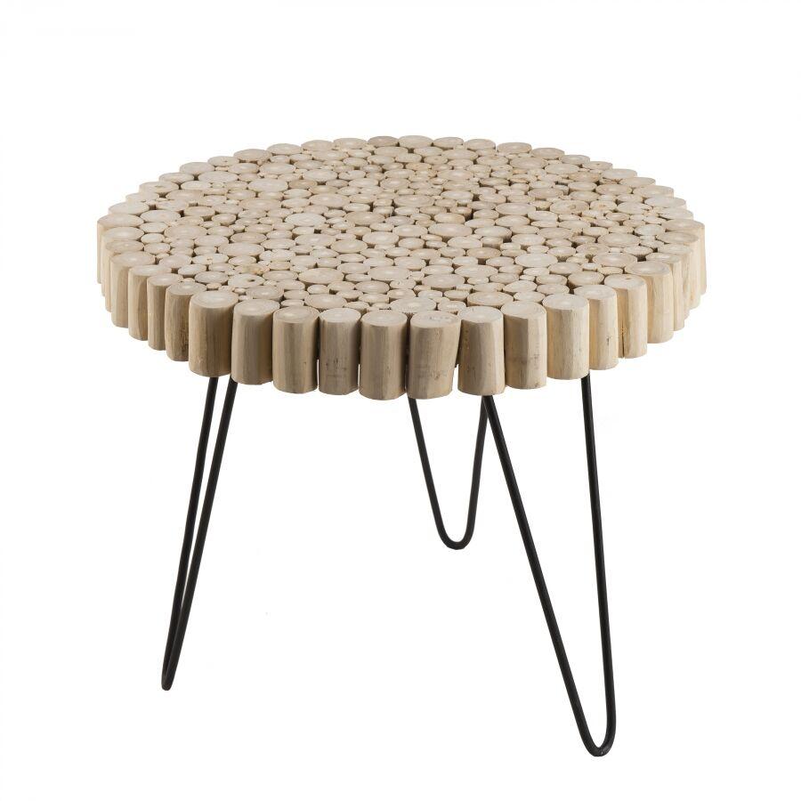 MACABANE Table d'appoint ronde nature plateau bois pieds métal