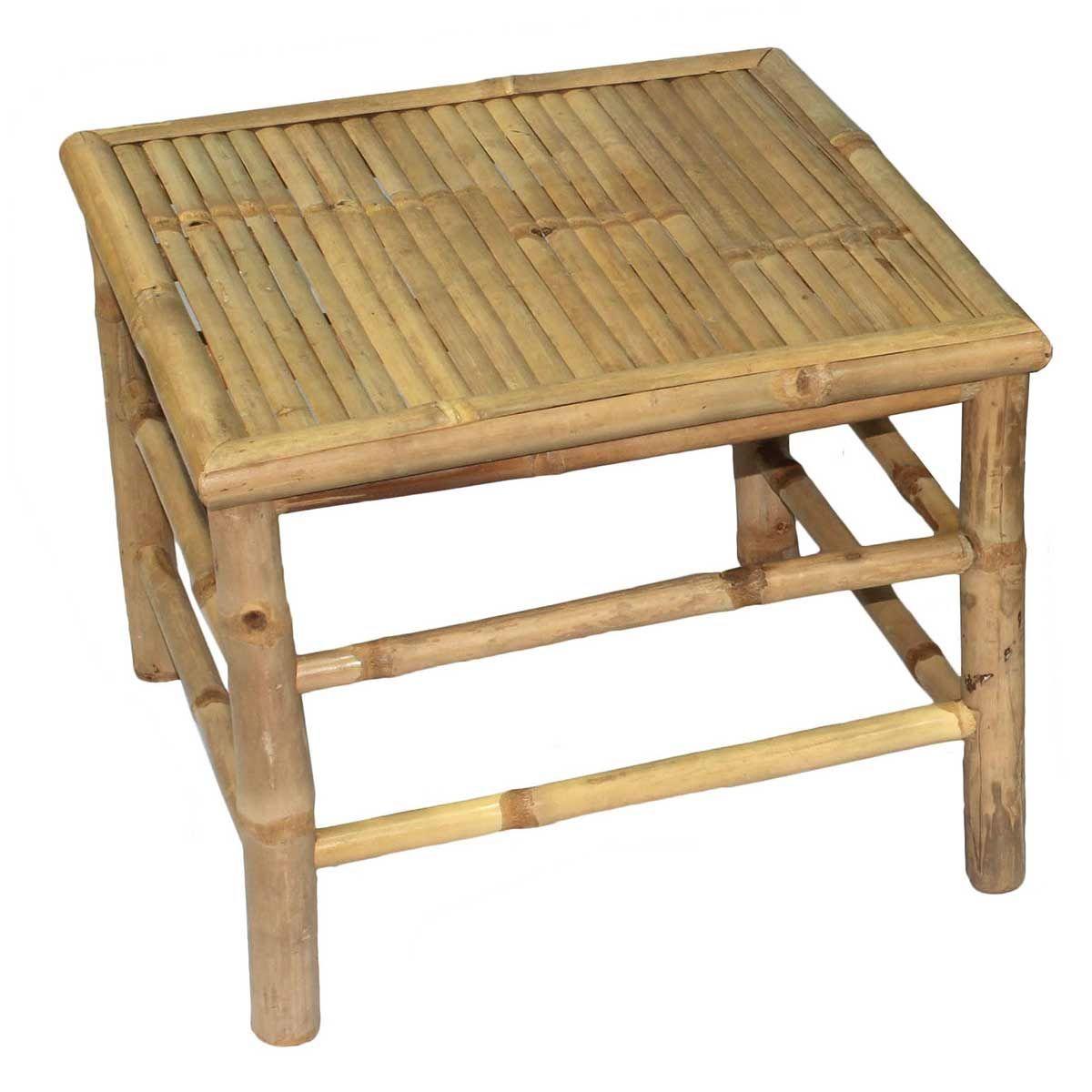 Casatera Table basse carrée en bambou bois clair