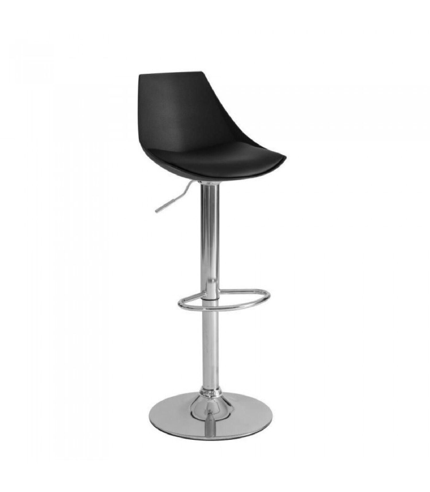 Wadiga Tabouret de bar en métal chromé et assise similicuir noir réglable