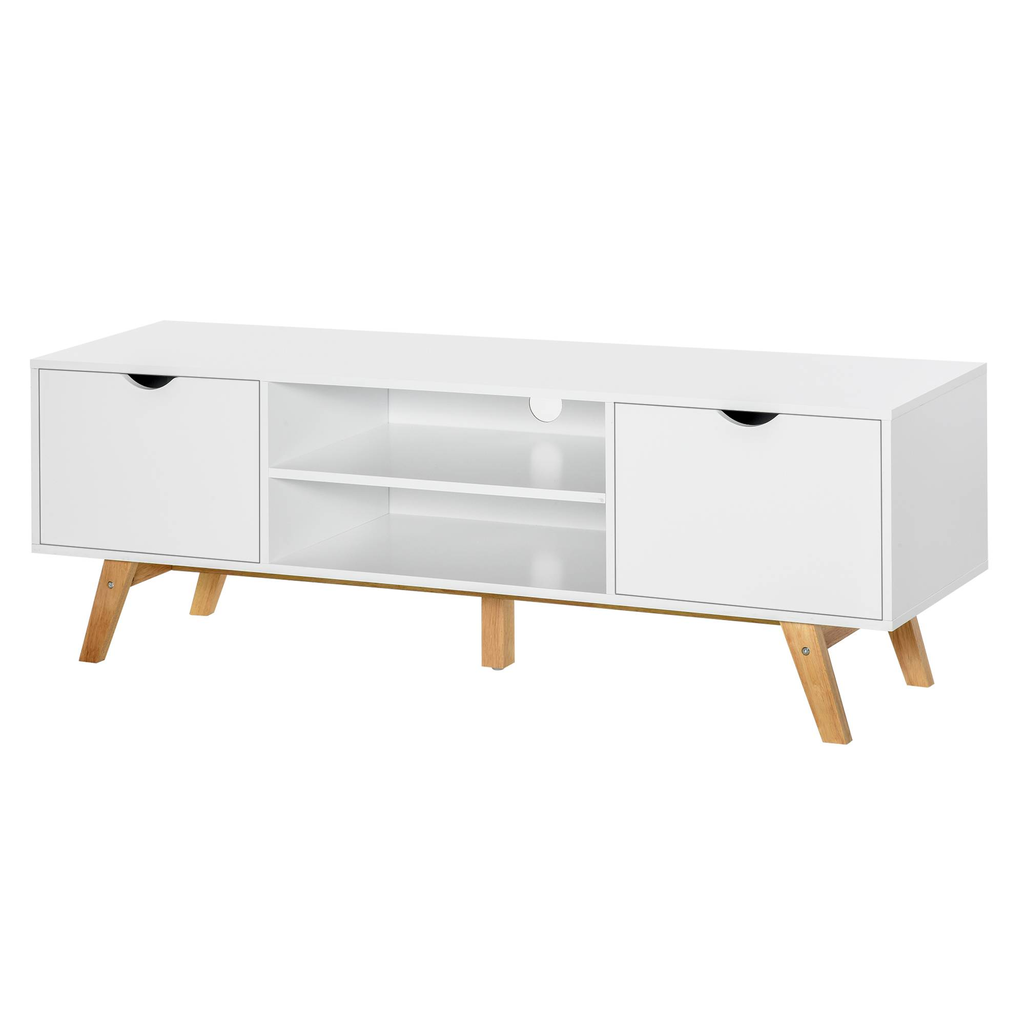 Homcom Meuble TV style scandinave 2 portes 2 niches blanc bois hévéa