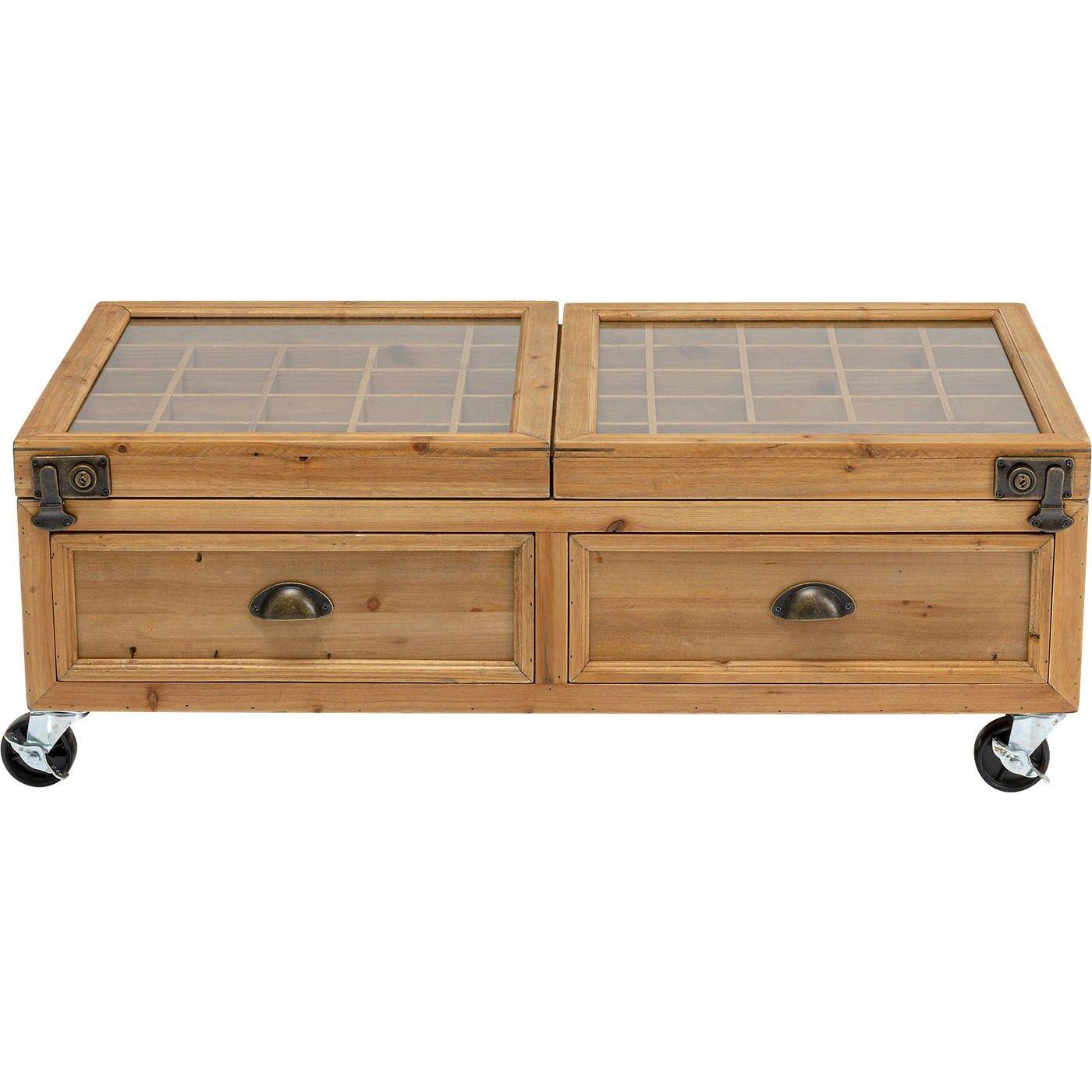 Kare Design Table basse sur roulettes en sapin massif et verre 100x58